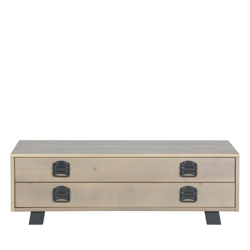 Table basse en pin massif gris fumé