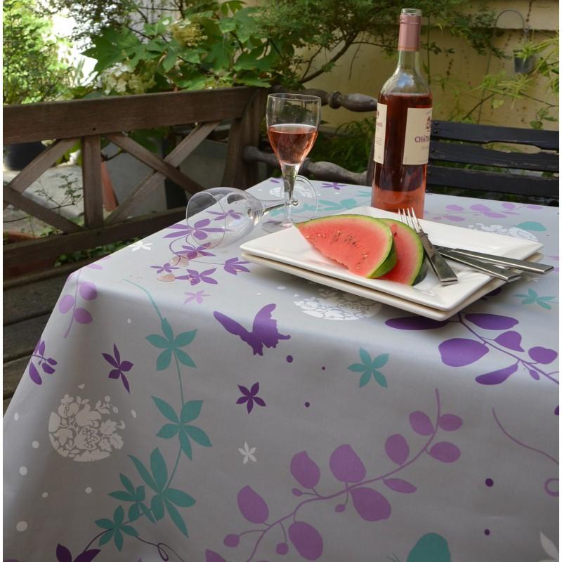 Nappe enduite carrée 160 x 160 cm violet