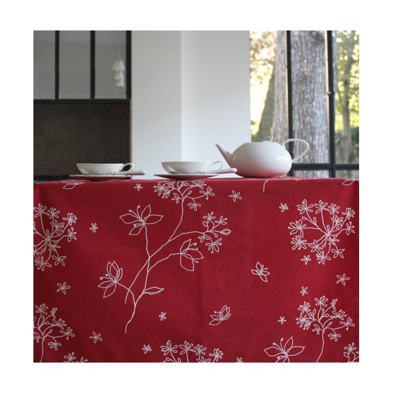 Nappe enduite carrée 160 x 160 cm rouge