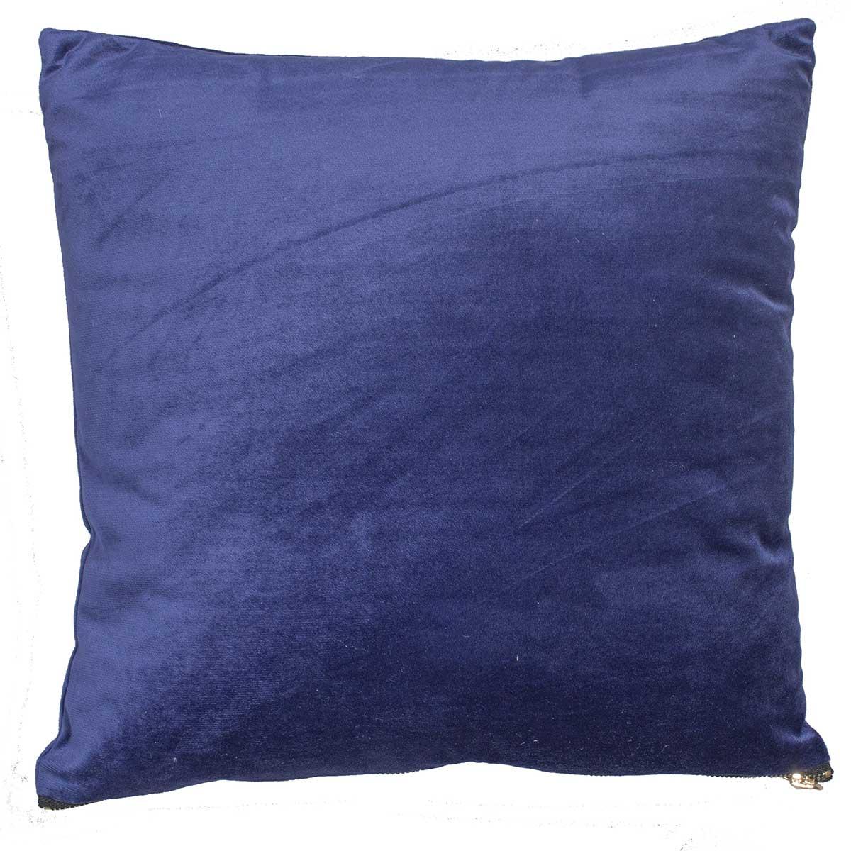 Coussin en velours avec zip déco velours bleu nuit 40x40