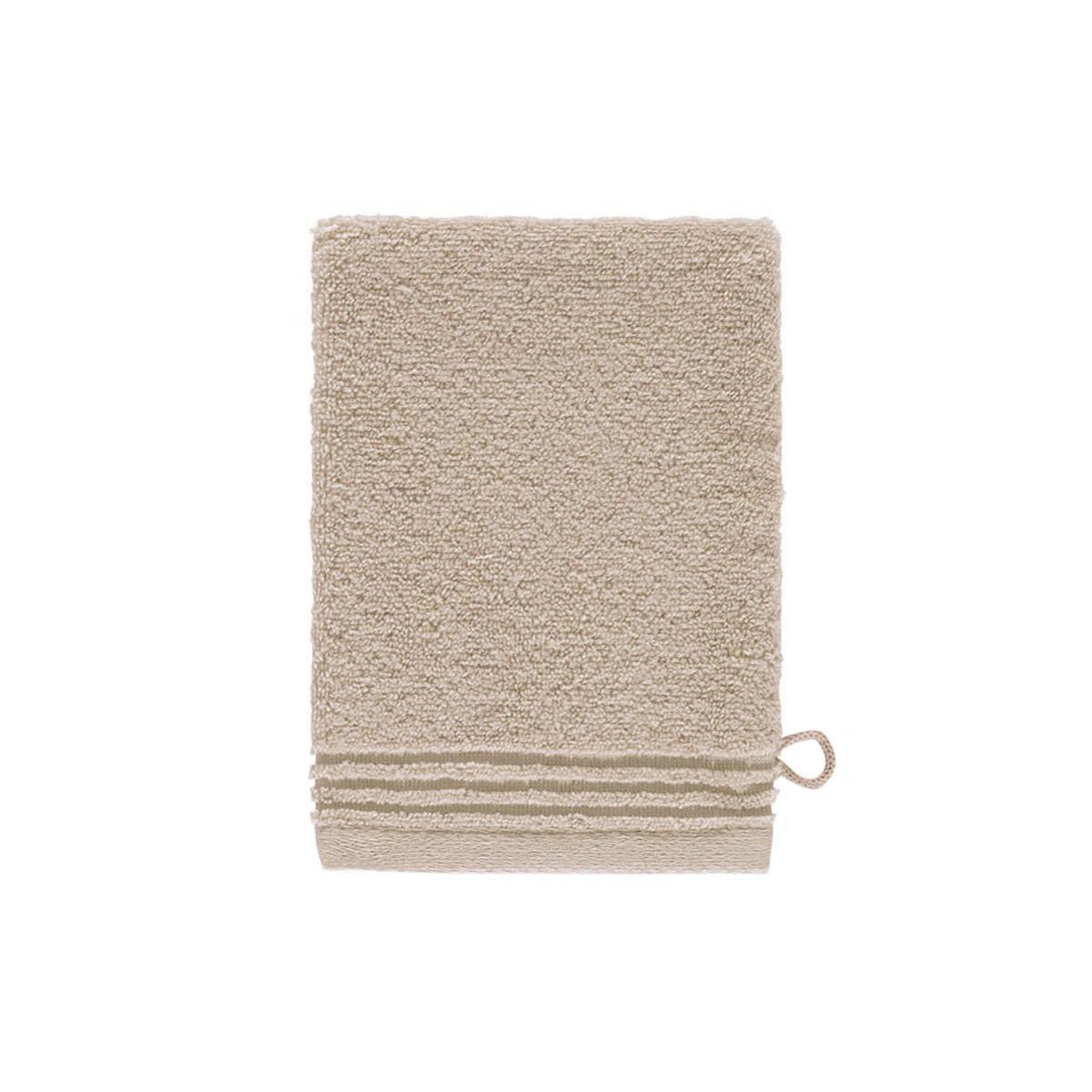 Gant de toilette coton peigné Taupe 15 x 21 cm