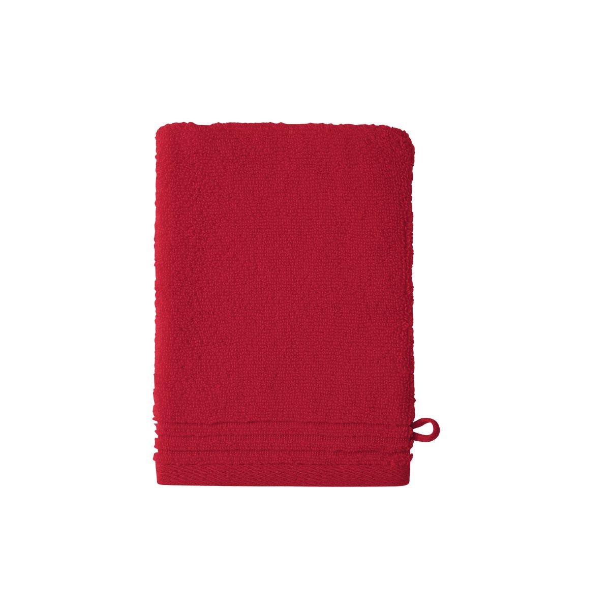 Gant de toilette coton peigné Rouge 15 x 21 cm