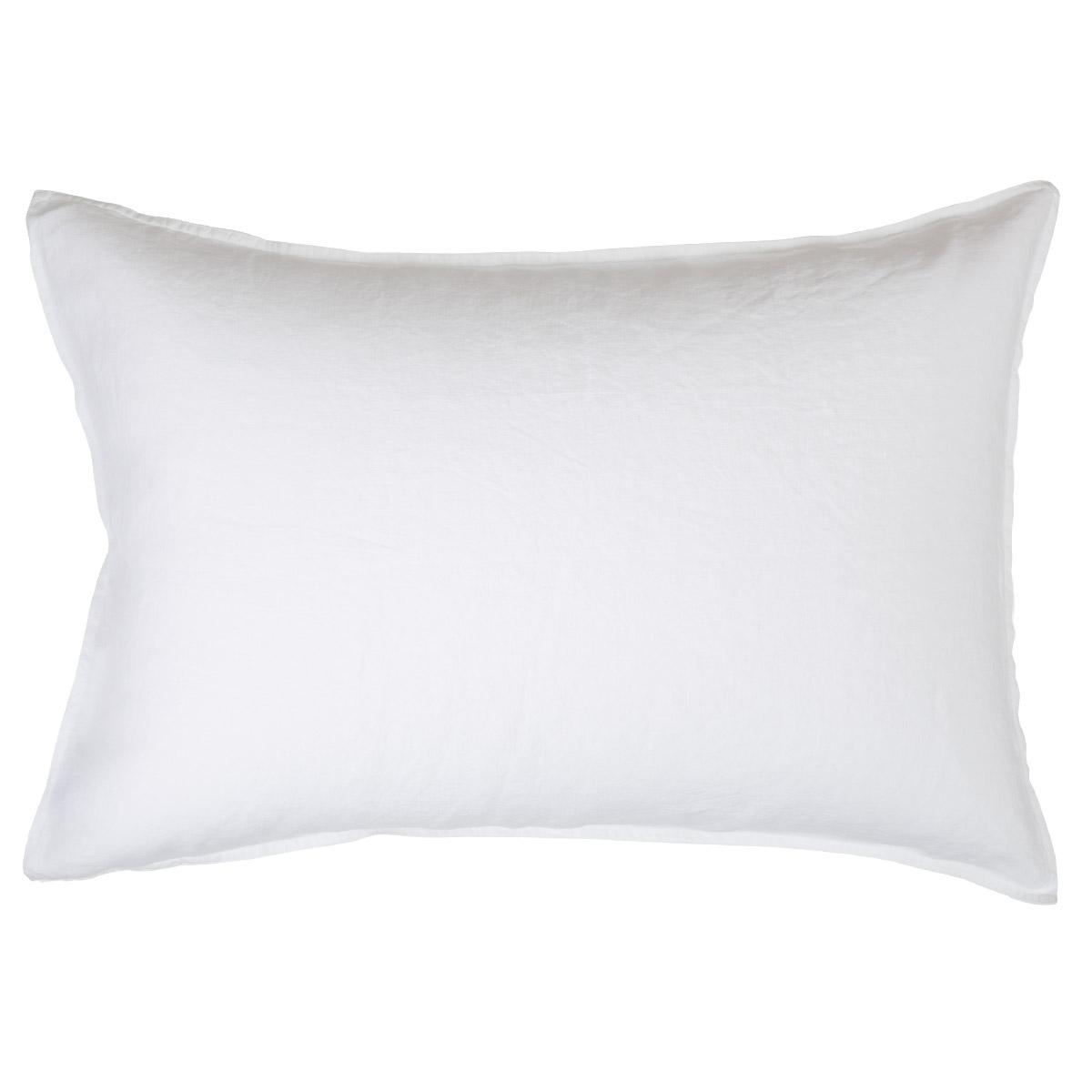 Taie d'oreiller 100 % Lin Blanc 50 x 75 cm