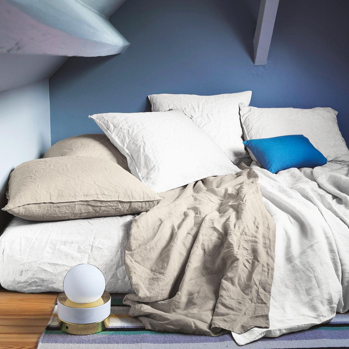 Drap plat 100 % Lin Blanc 270 x 300 cm
