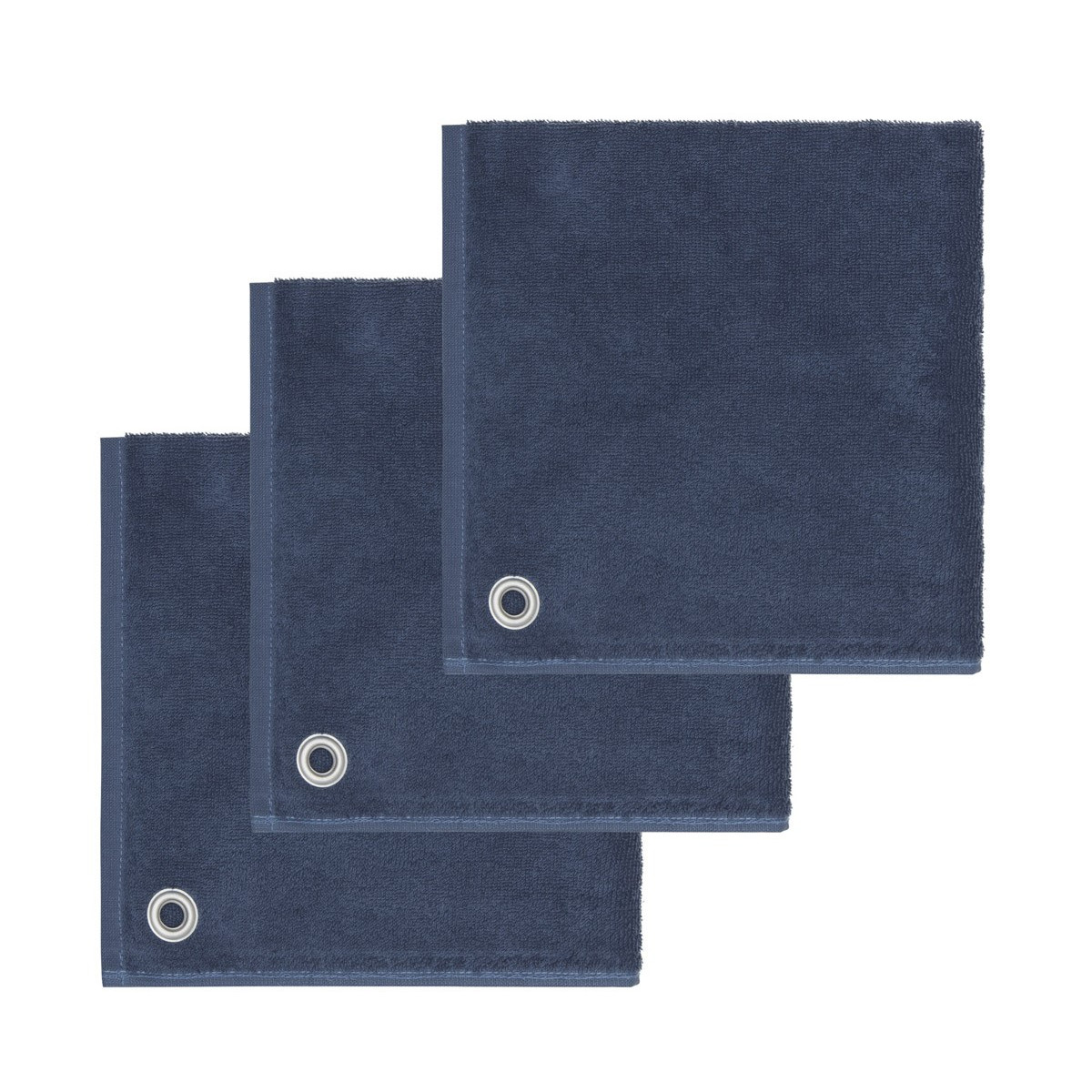 AMAIA - Lot de 3 torchons carrés avec œille Indigo 50x50 cm