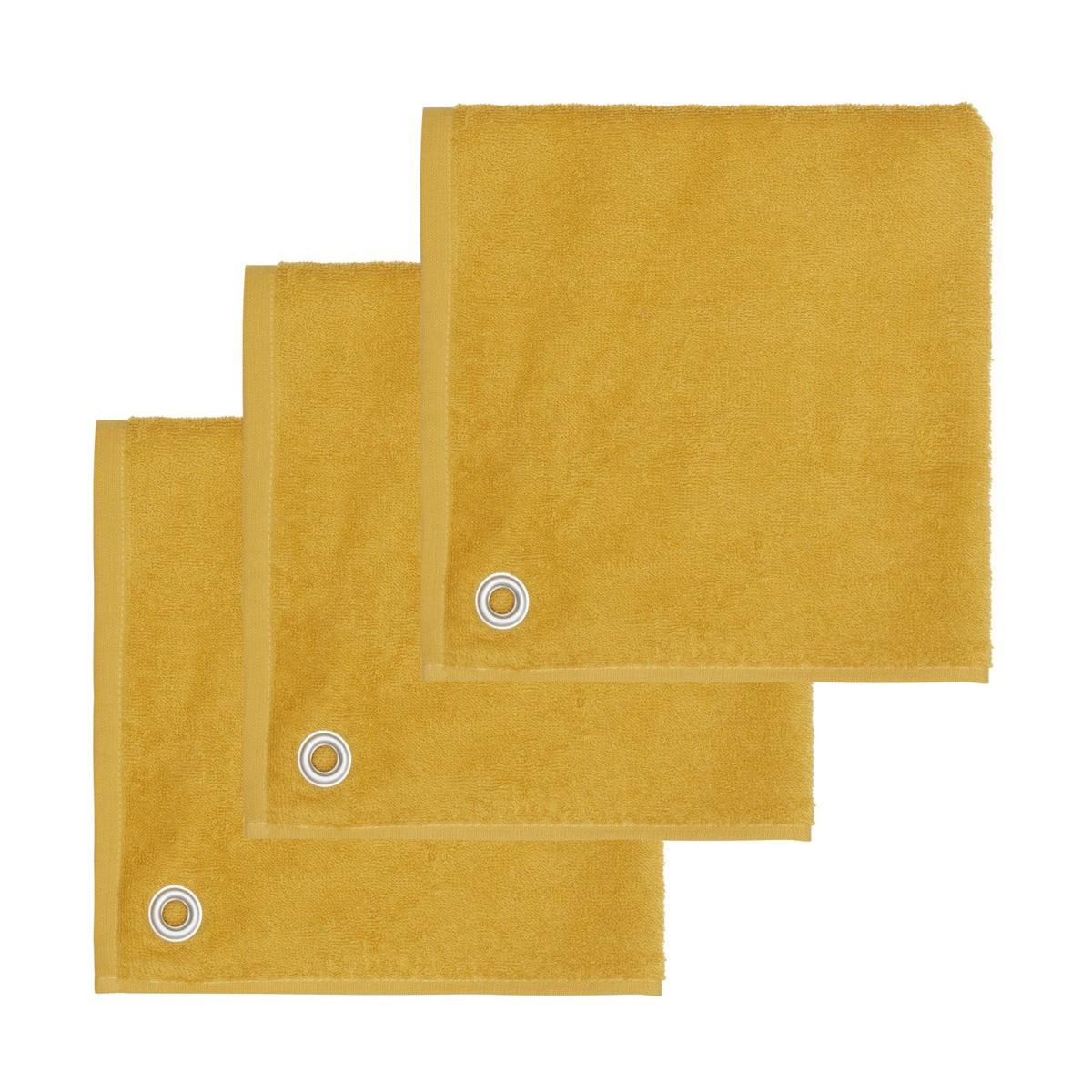 AMAIA - Lot de 3 torchons carrés avec œille Safran 50x50 cm