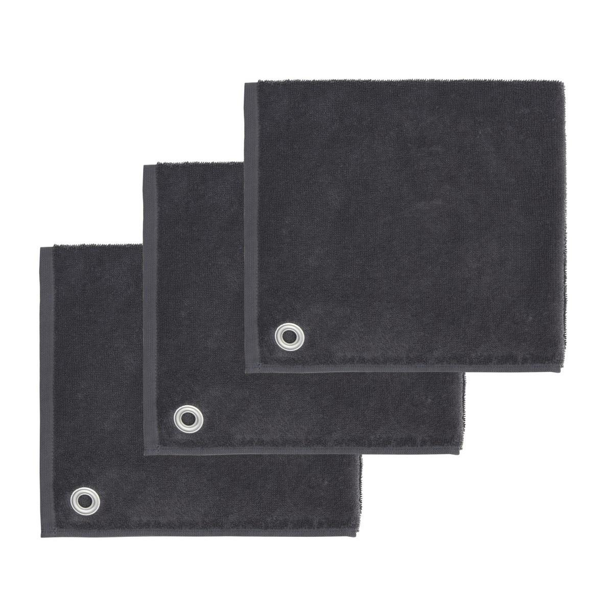 AMAIA - Lot de 3 torchons carrés avec œille Anthracite 50x50 cm