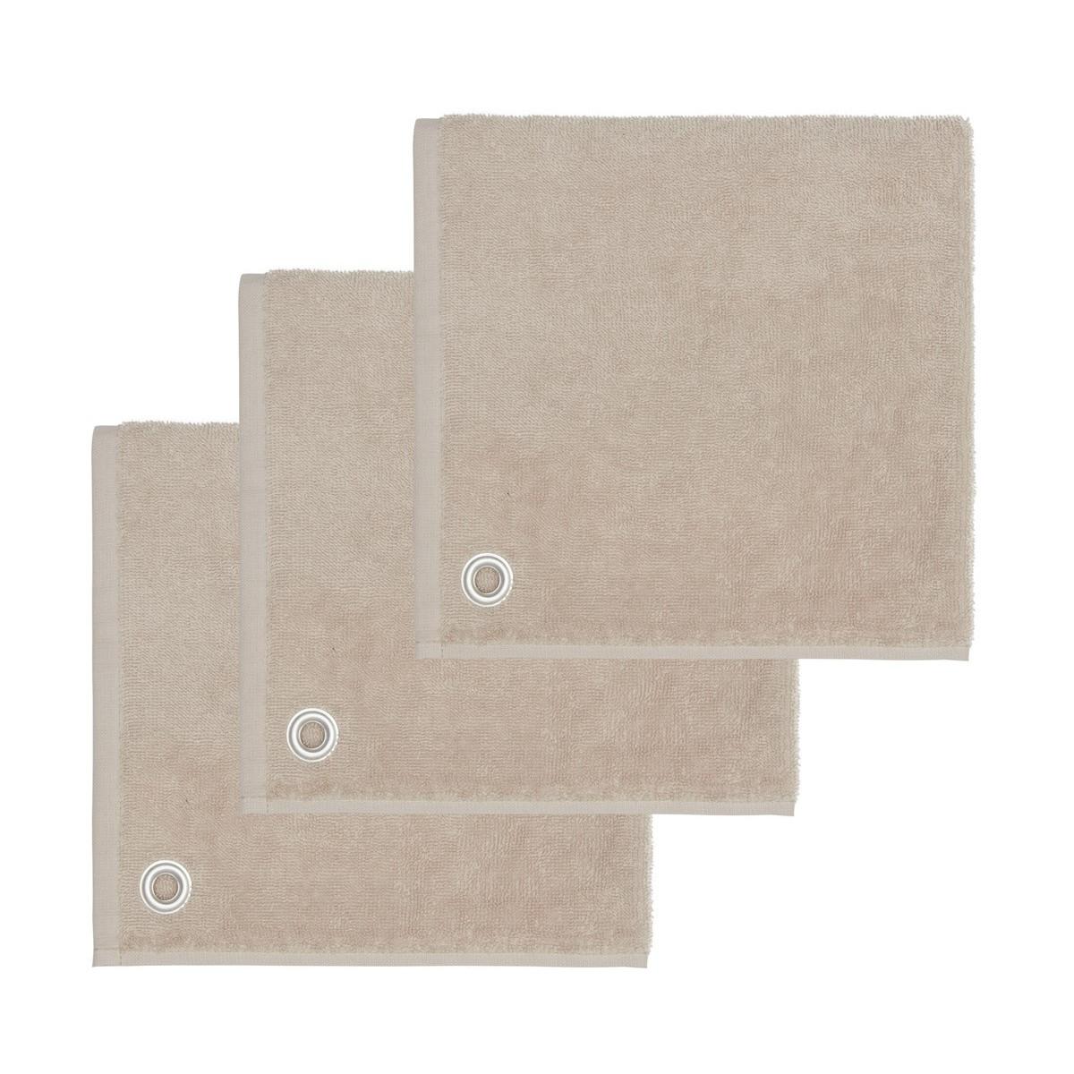 AMAIA - Lot de 3 torchons carrés avec œille Sable 50x50 cm