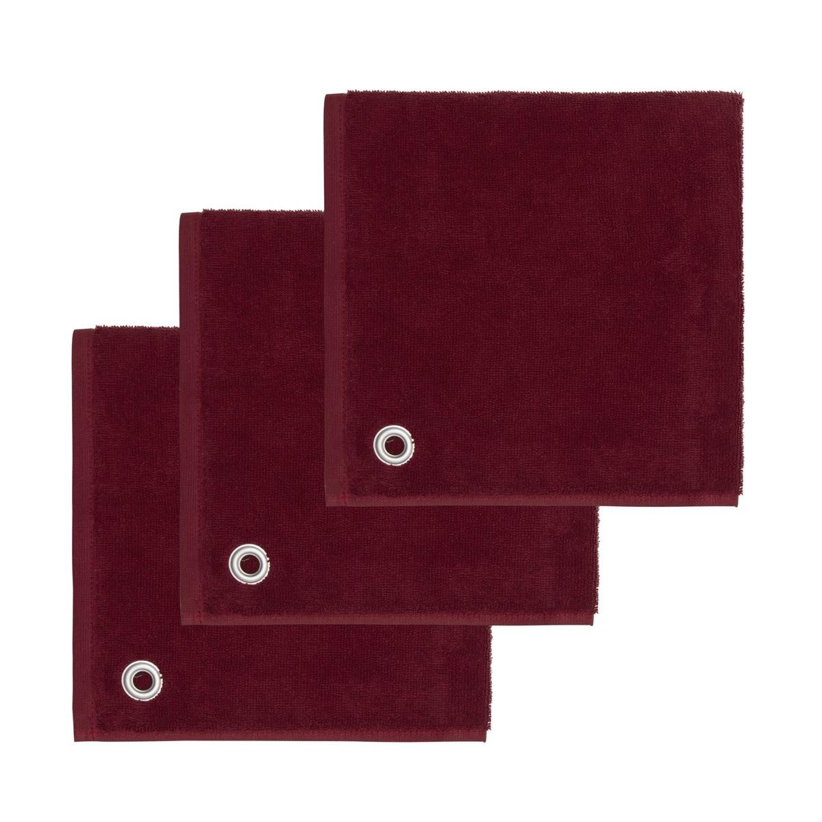 AMAIA - Lot de 3 torchons carrés avec œille Cardinal 50x50 cm