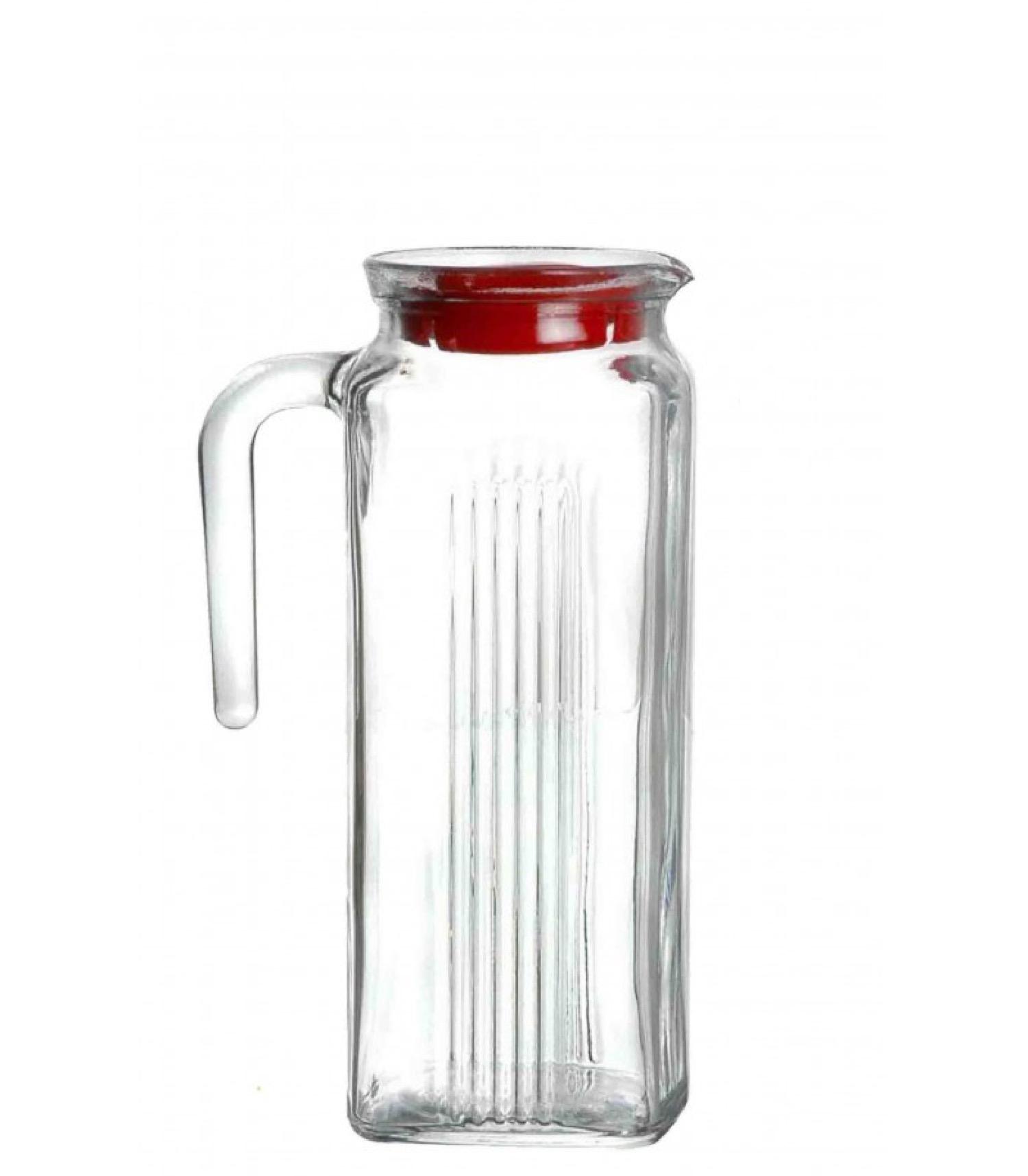 Carafe à eau en verre avec couvercle pour réfrigérateur 1L