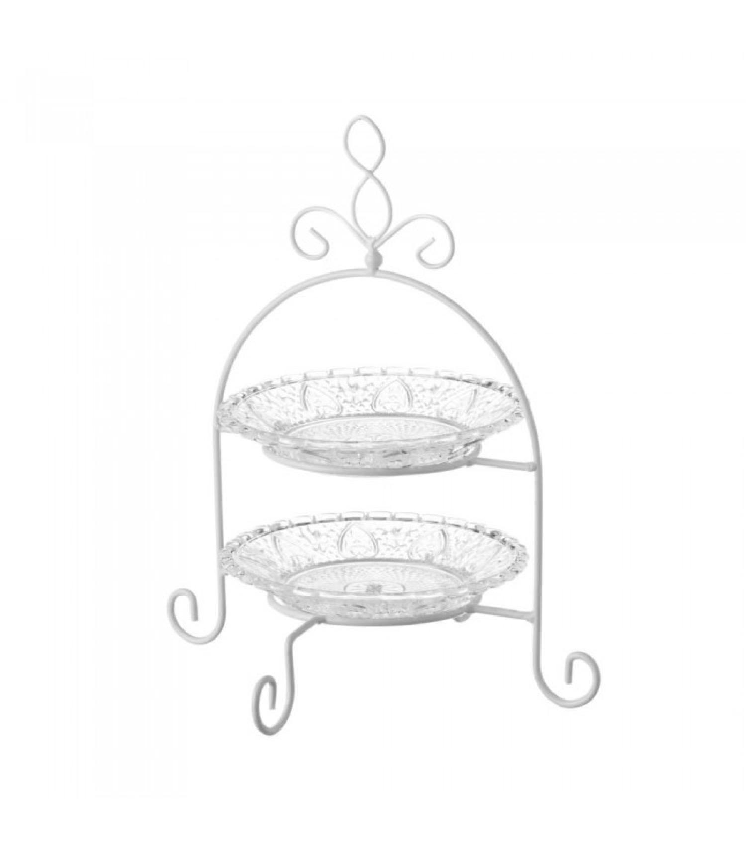 Plat de présentation fruits ou gâteaux en verre H29cm
