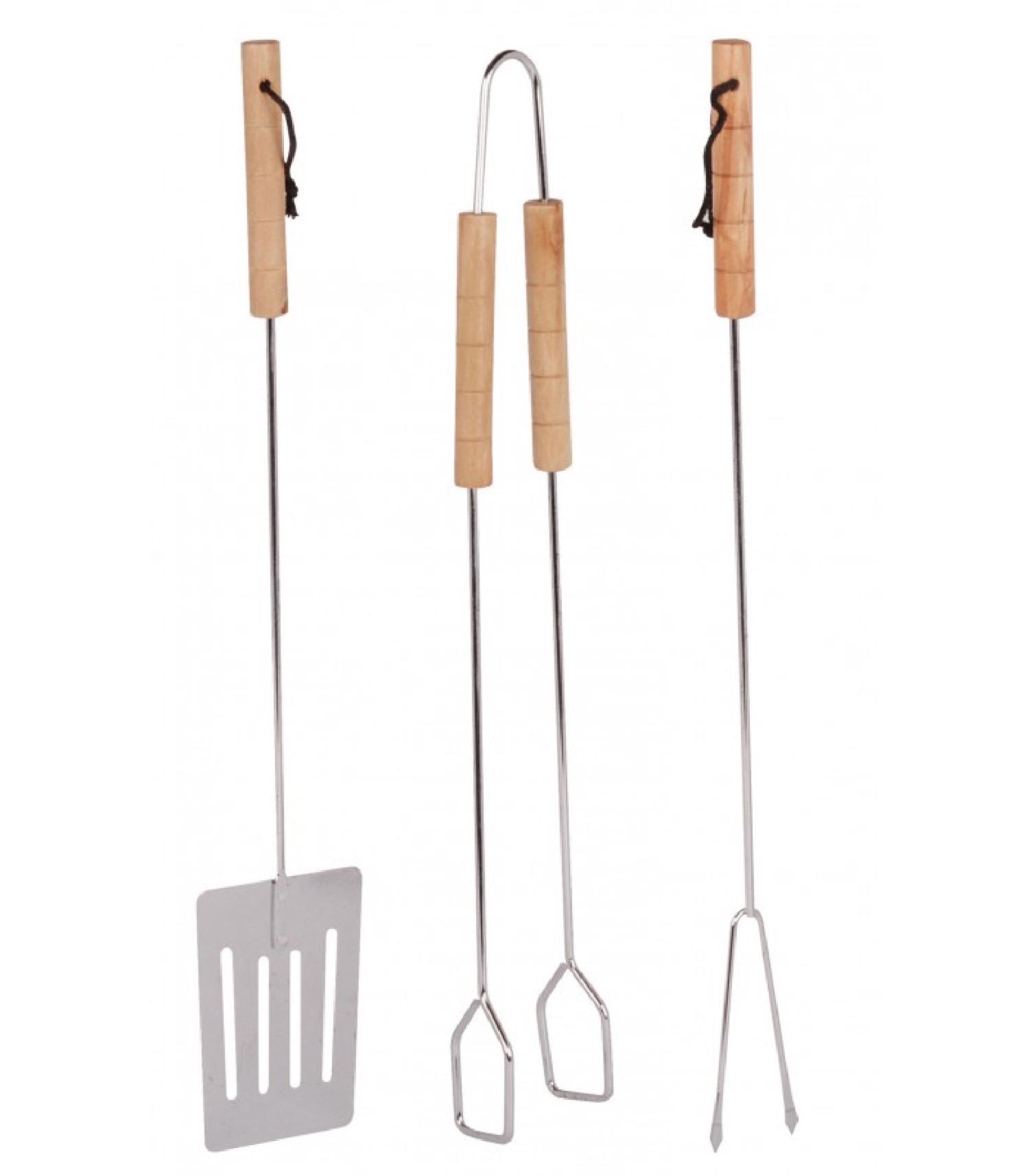 Set de 3 ustensiles pour barbecue acier et bois