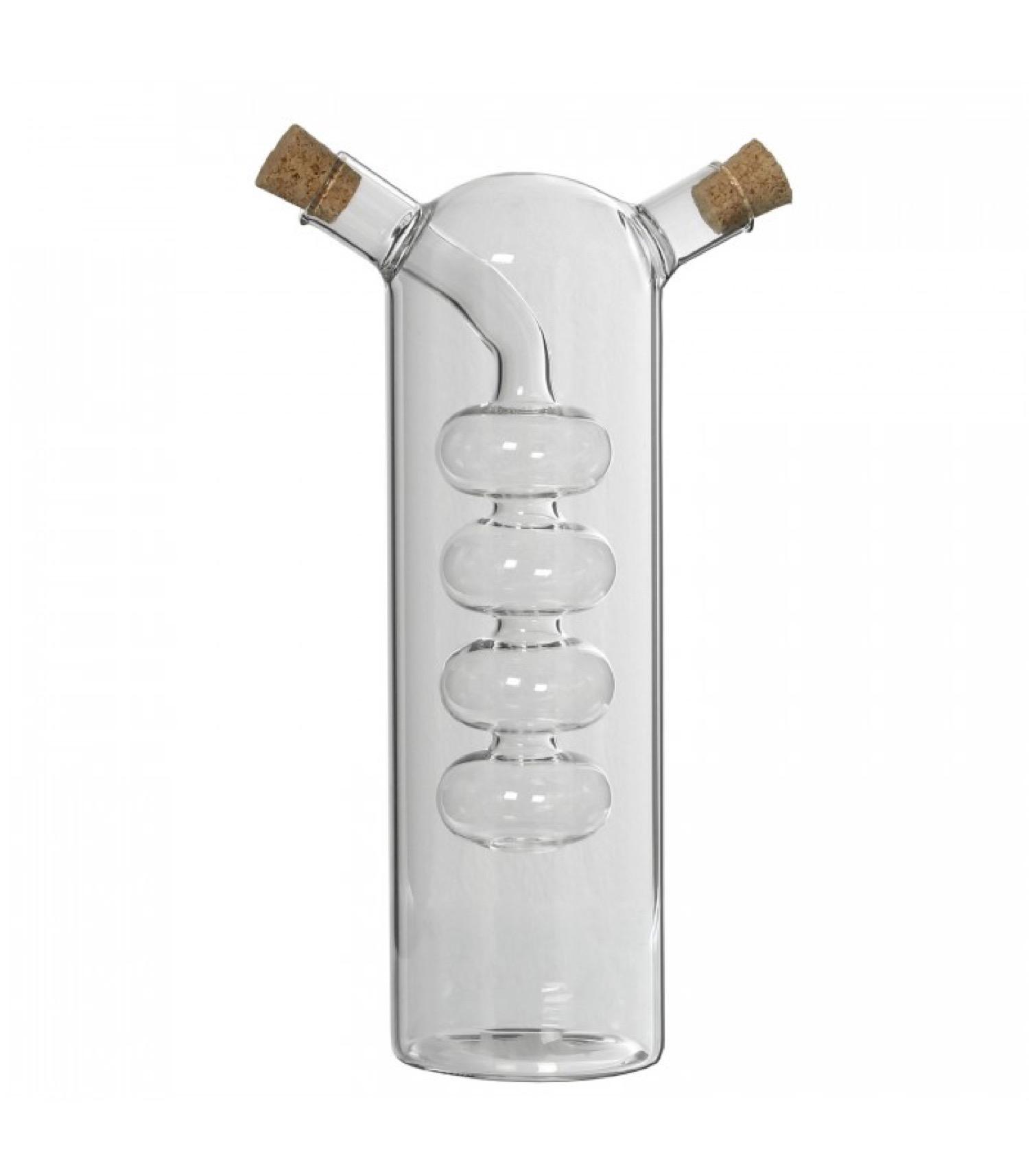 Huilier vinaigrier transparent en verre bouchons en liège