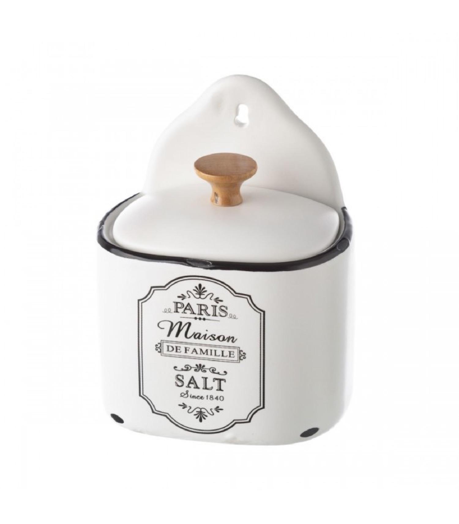 Pot à sel mural en céramique blanche