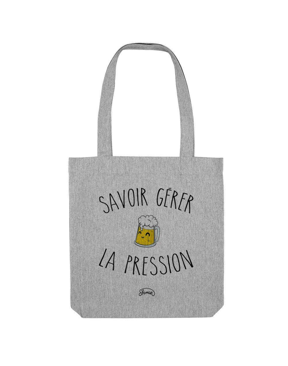 LA PRESSION - Tote Bag  Gris chiné  en coton