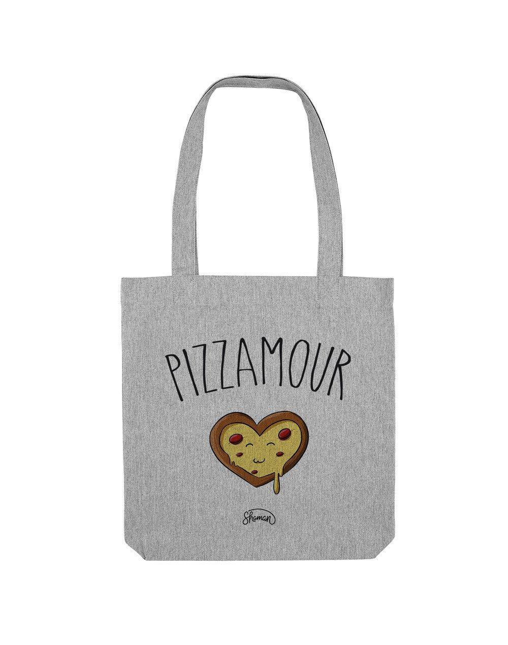 PIZZAMOUR - Tote Bag  Gris chiné  en coton