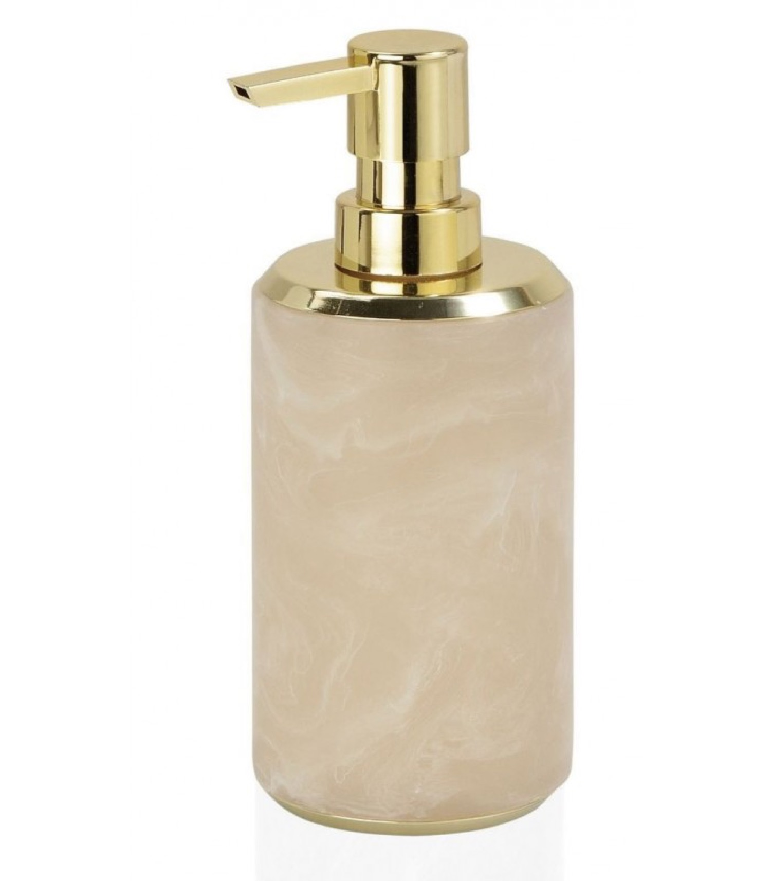 Distributeur de savon en résine effet marbre rose et métal doré