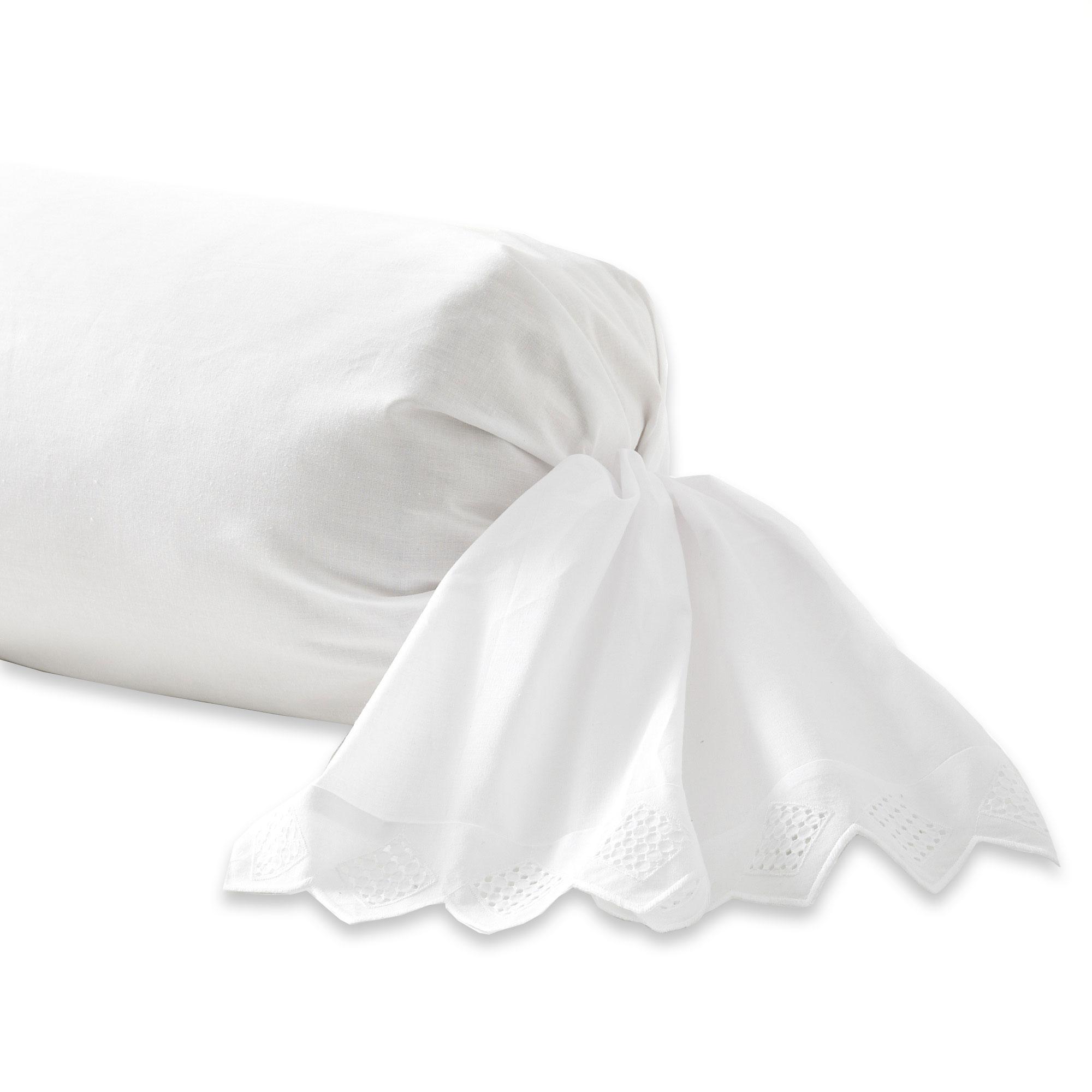 Taie de traversin brodée en coton blanc 85x185