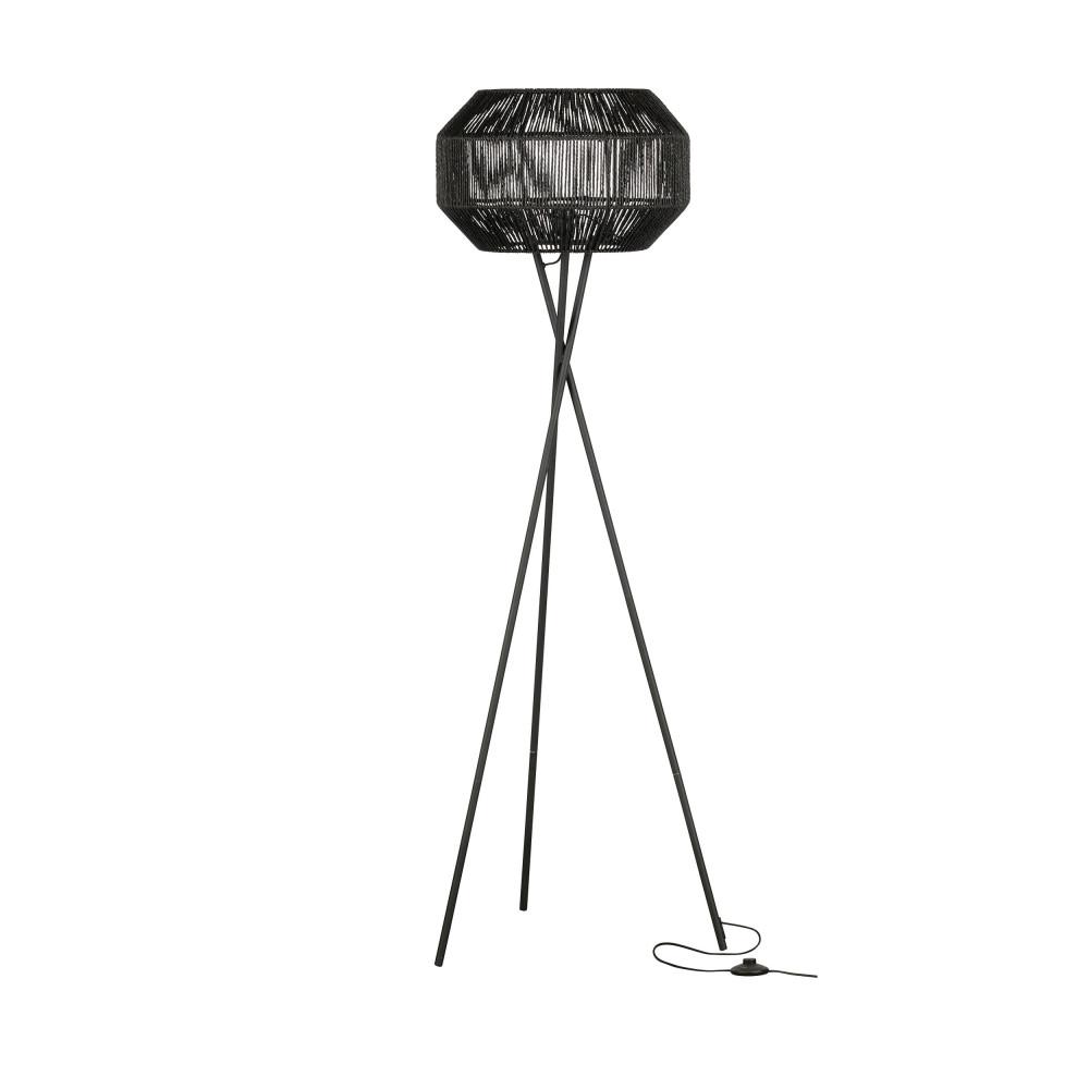 Lampadaire trépied en métal et jute noir
