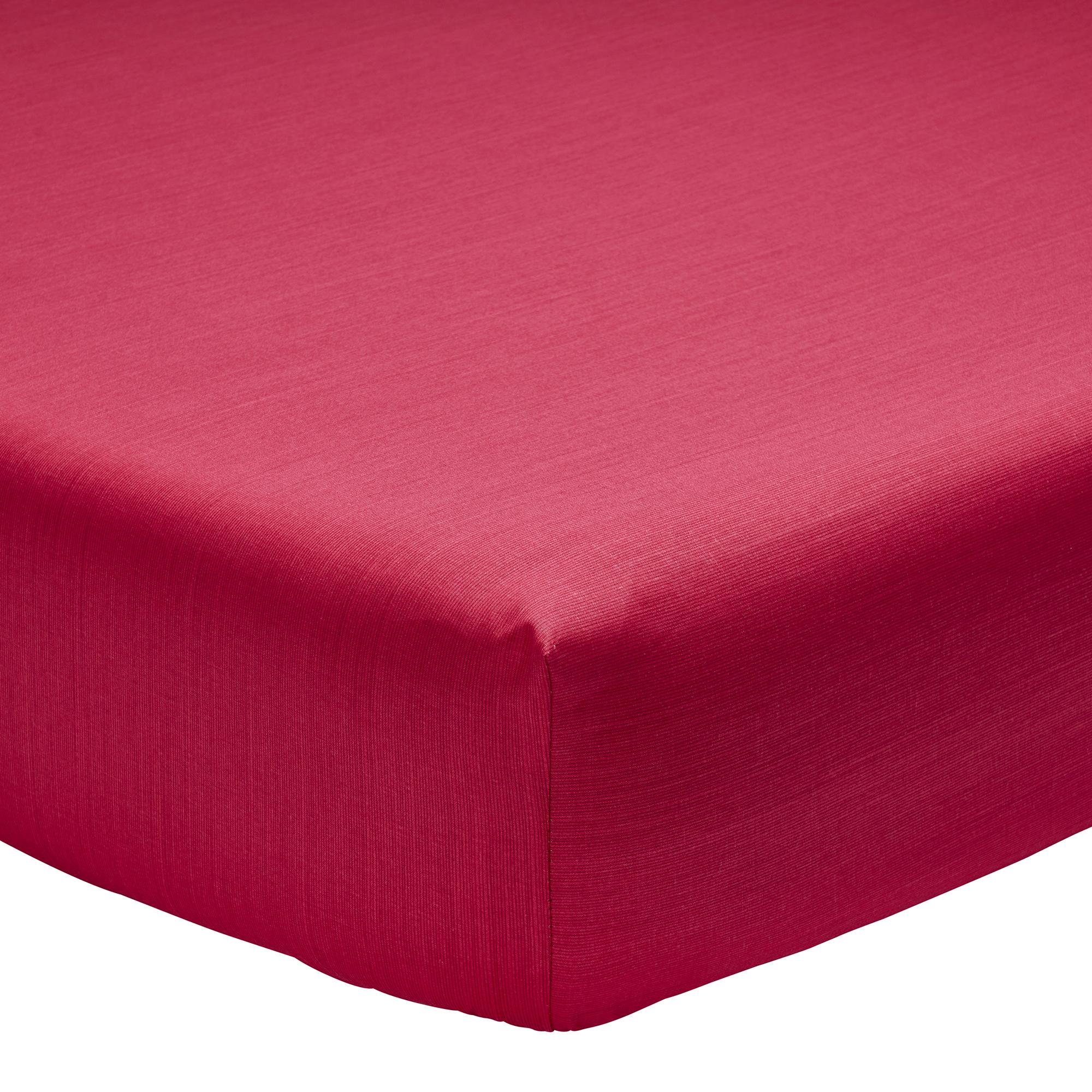 Drap housse fines rayures en bambou rouge 160 x 200