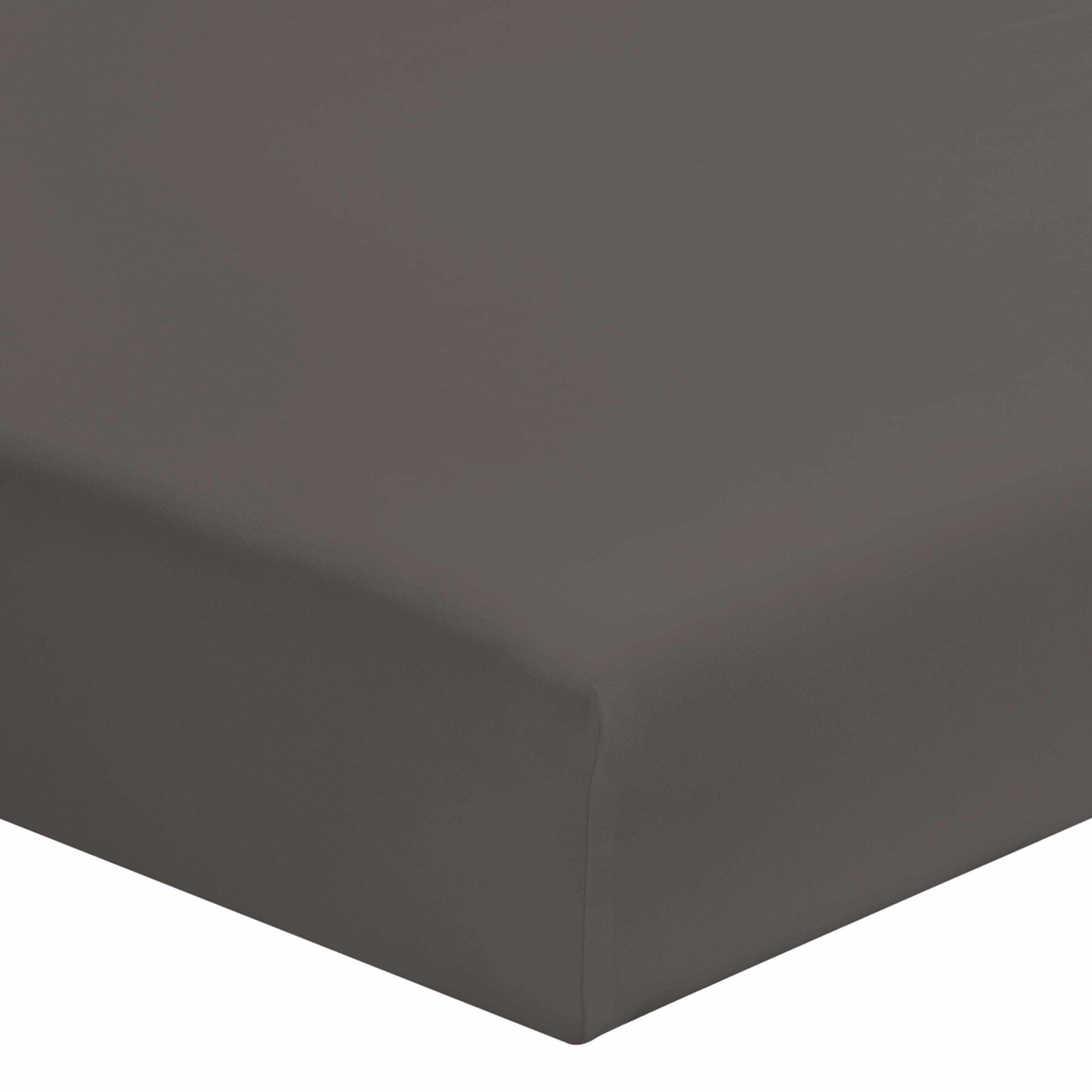 Drap housse uni en coton gris 140x190