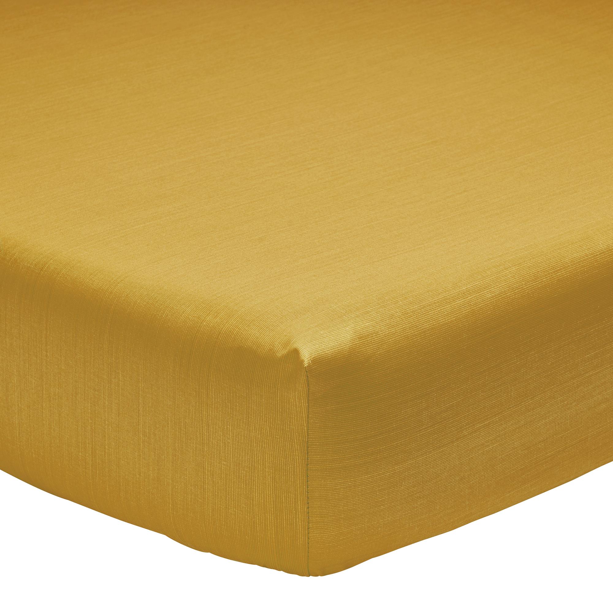 Drap housse fines rayures en bambou jaune 140 x 190