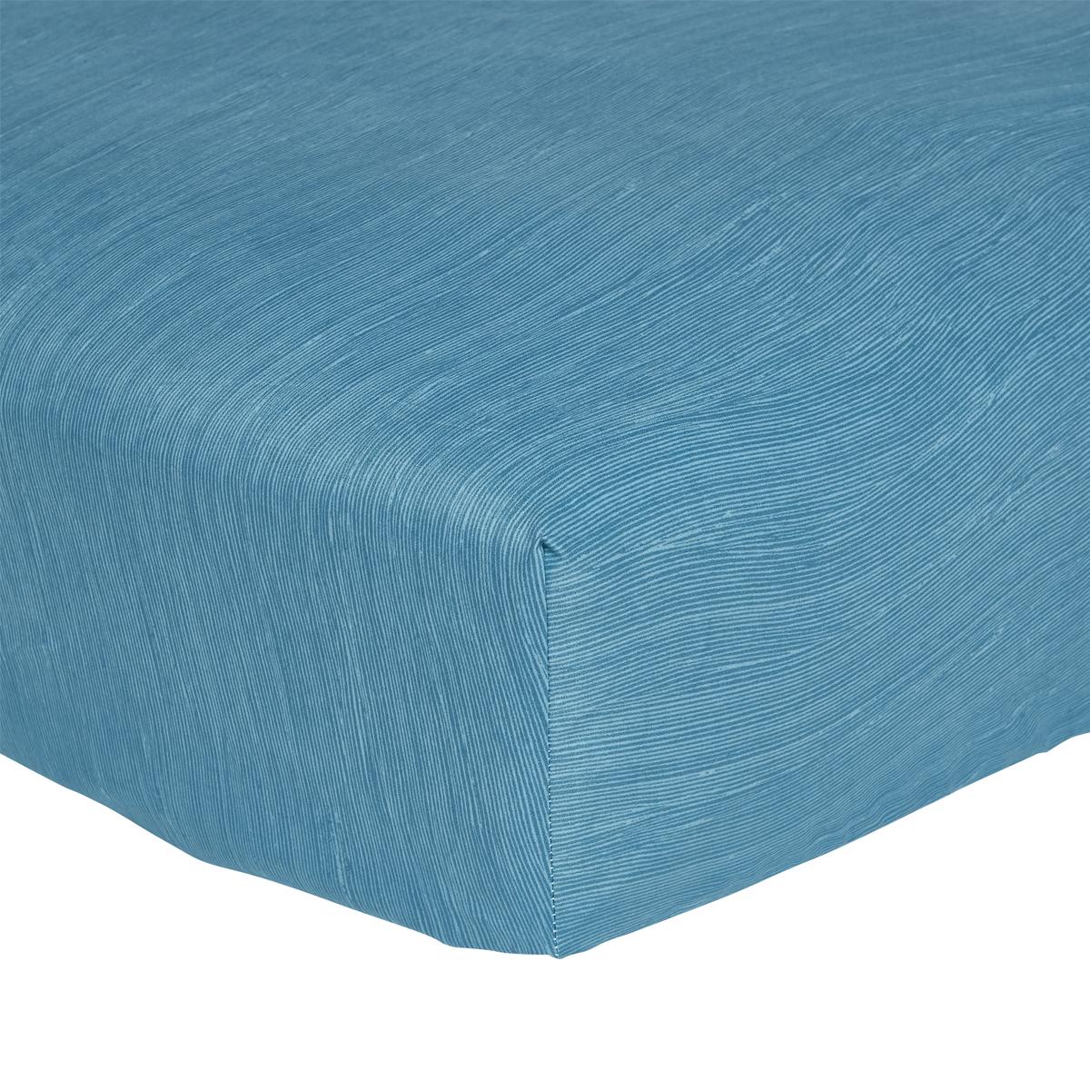 Drap housse en microfibre bleu 90x190