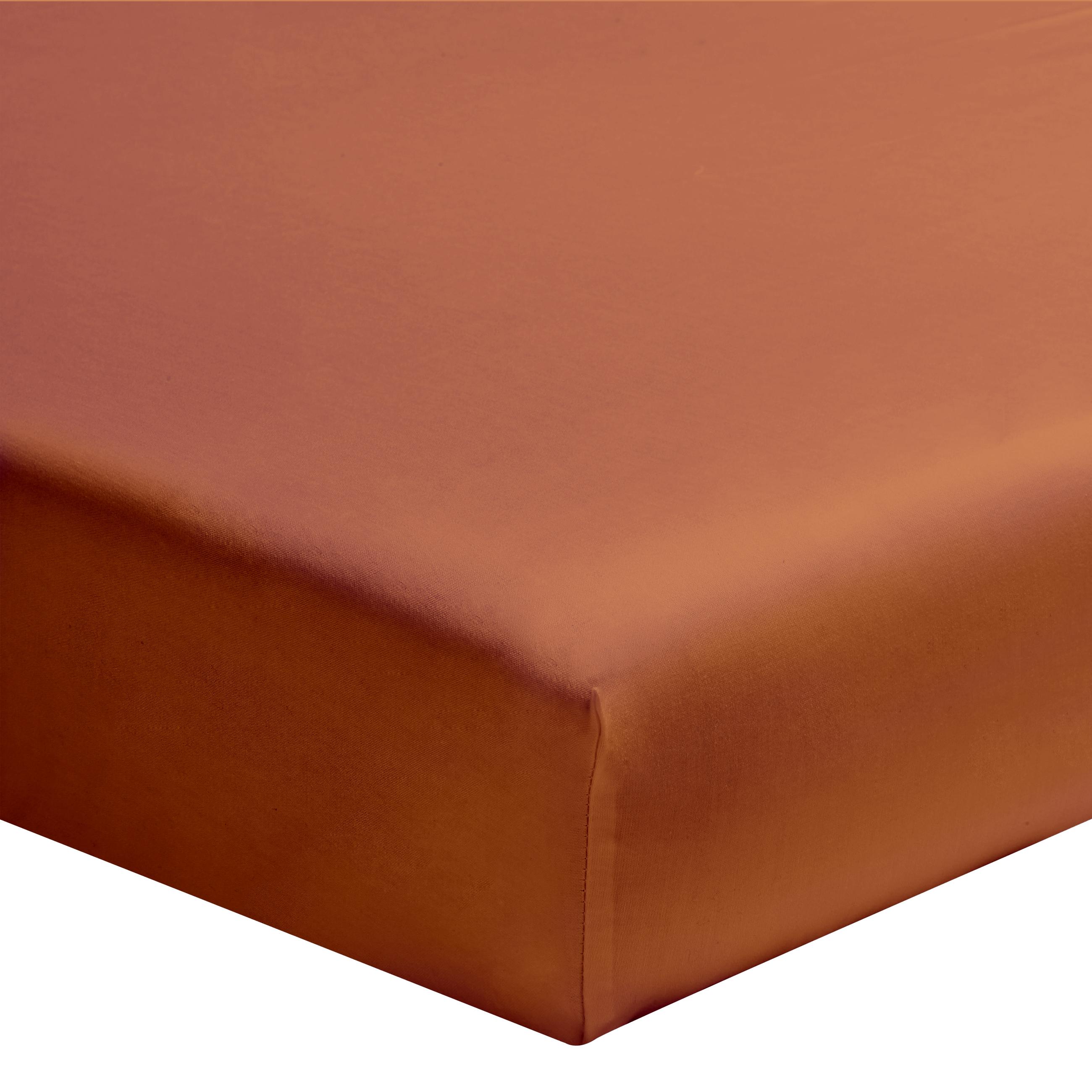 Drap housse uni en coton terracotta 160x200