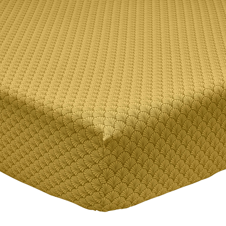 Drap housse imprimé en bambou jaune curry 160x200