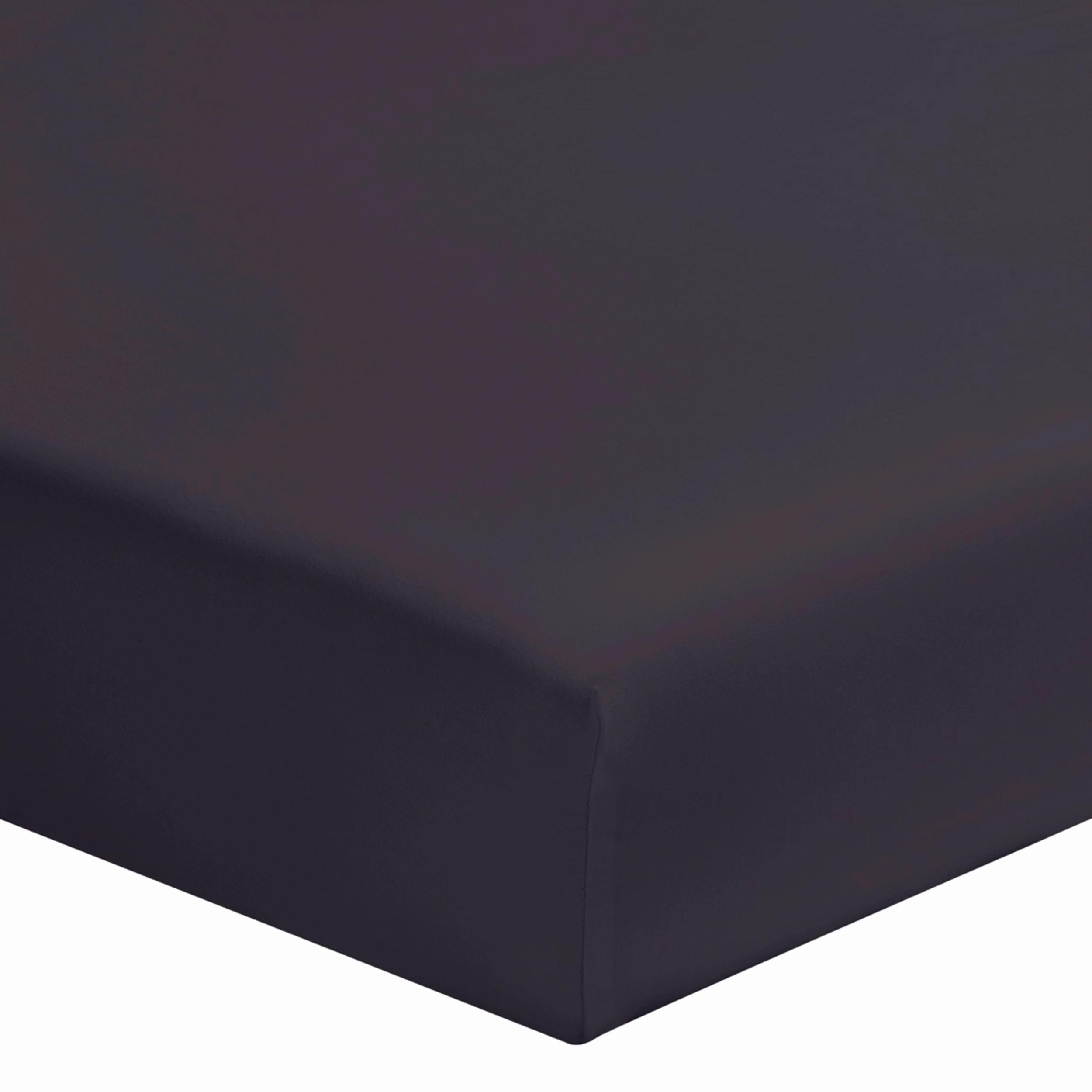 Drap housse uni en coton gris 90x190