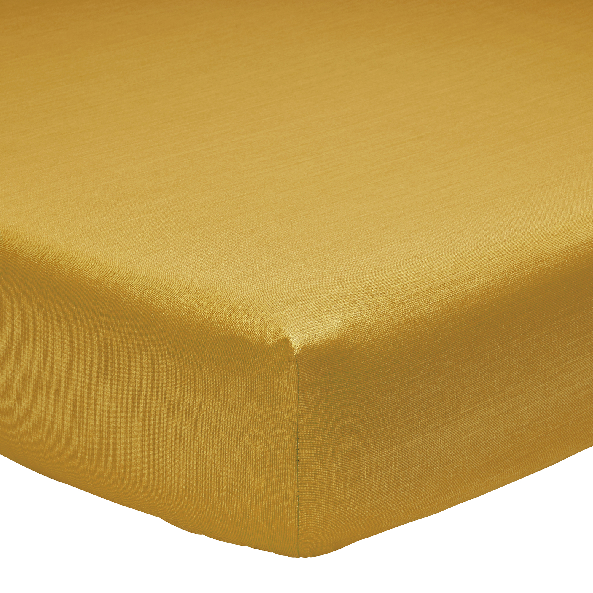 Drap housse fines rayures en bambou jaune 90 x 190