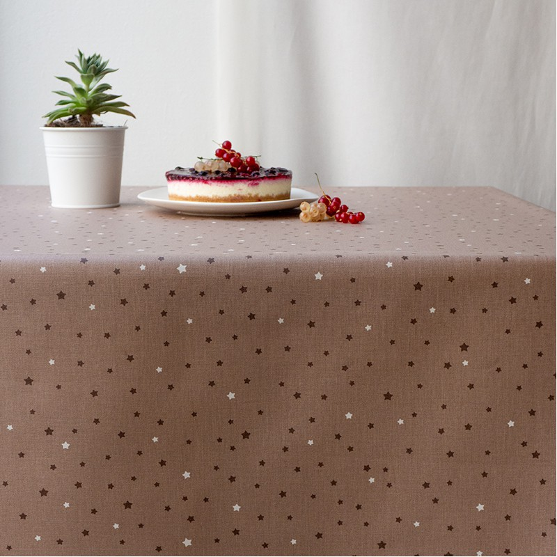 Nappe enduite rectangle 160 x 200 cm taupe