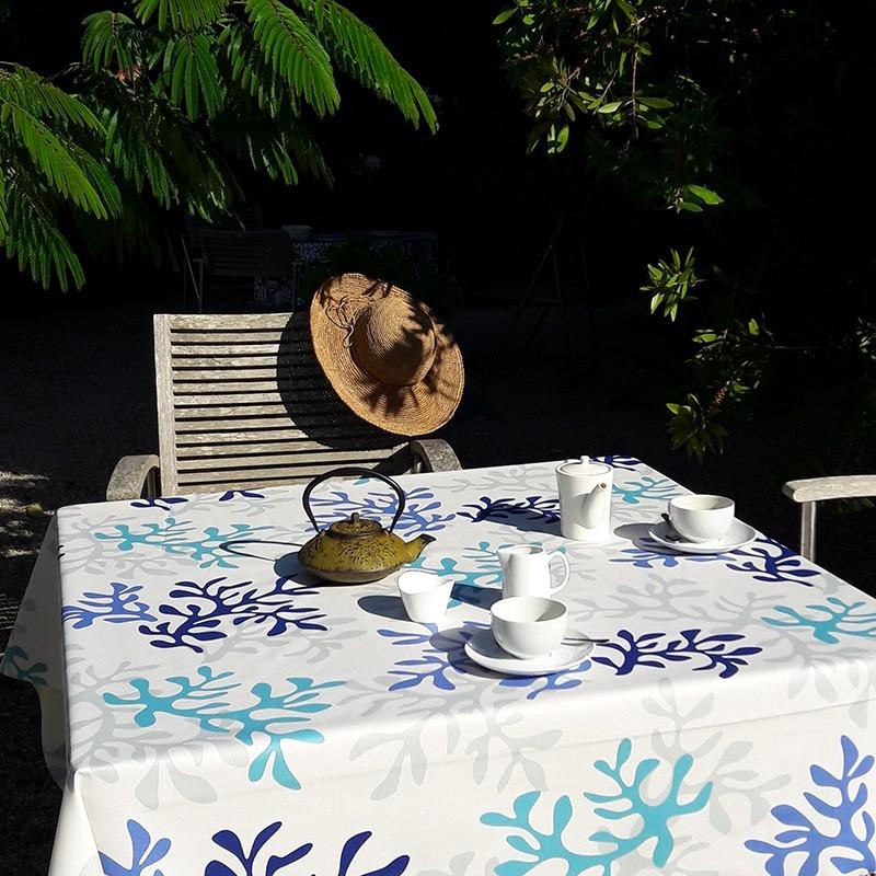 Nappe enduite carrée 120 x 120 cm bleu