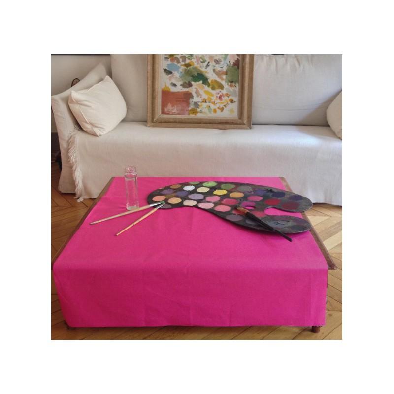 Nappe enduite carrée 160 x 160 cm rose