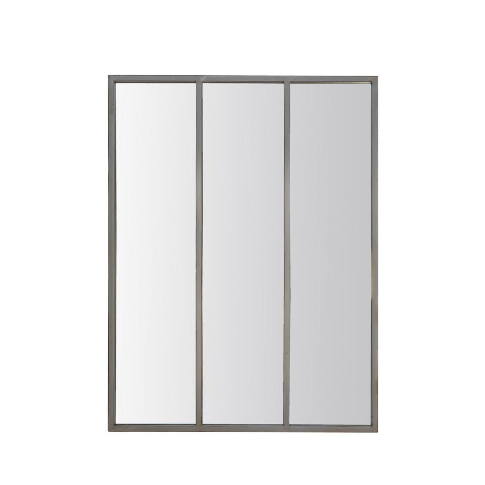 Miroir verrière style industriel 90x120 argent