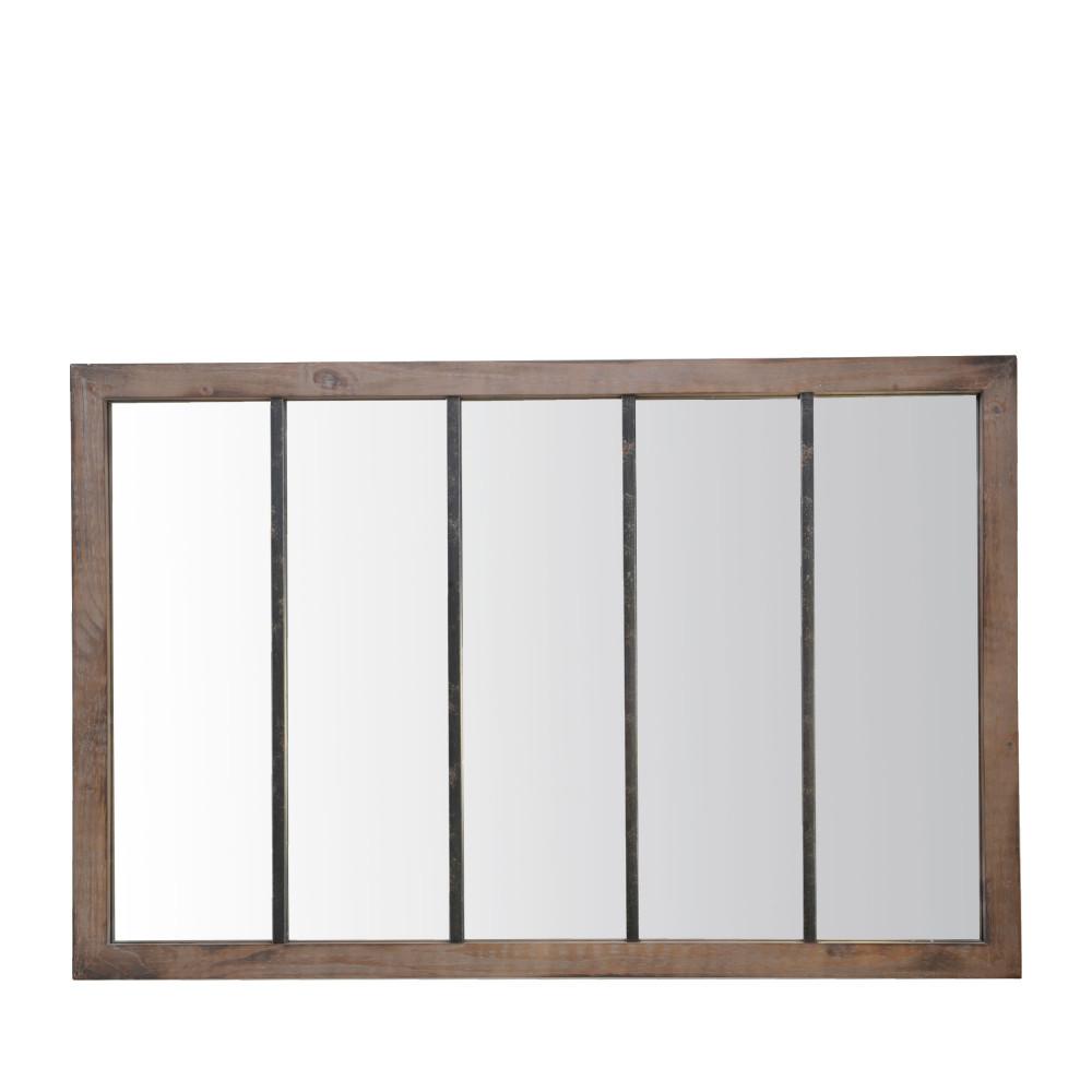 Miroir verrière en métal noir et bois 140x90 cm