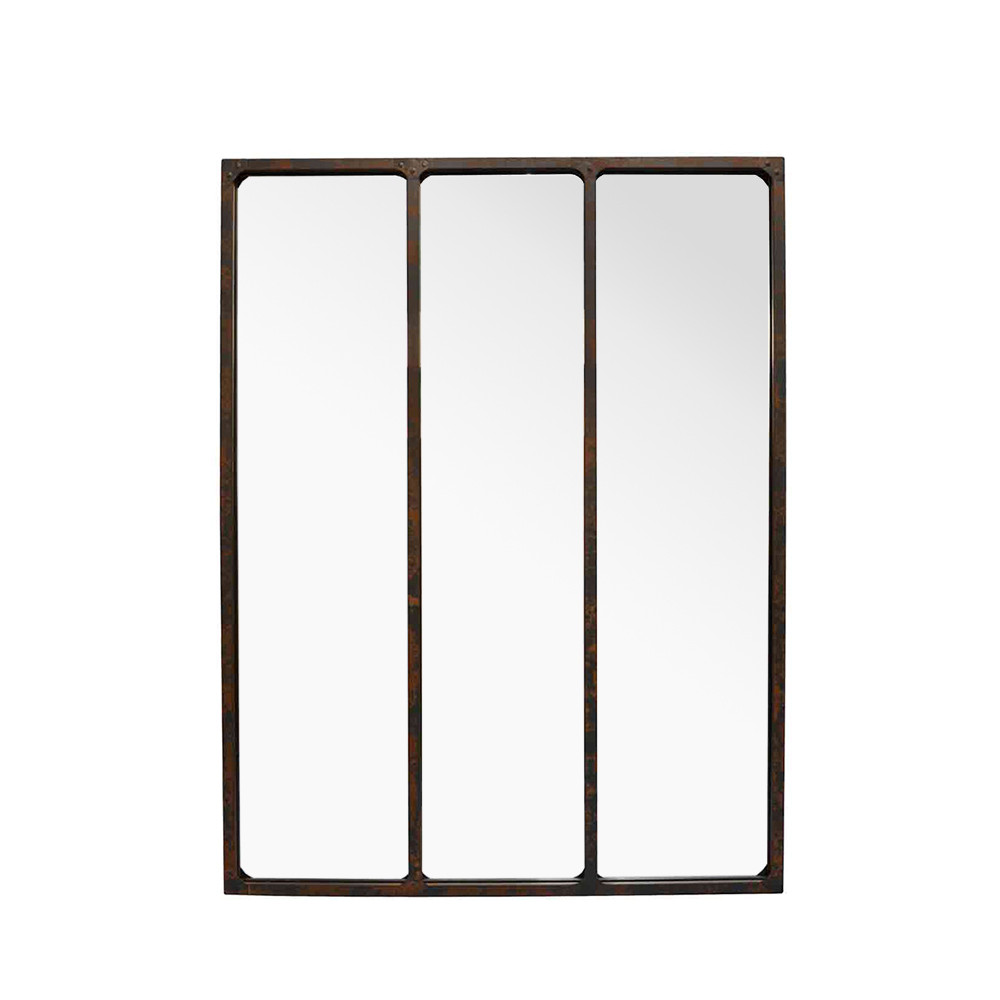 Miroir verrière industriel 90x120 métal oxydé