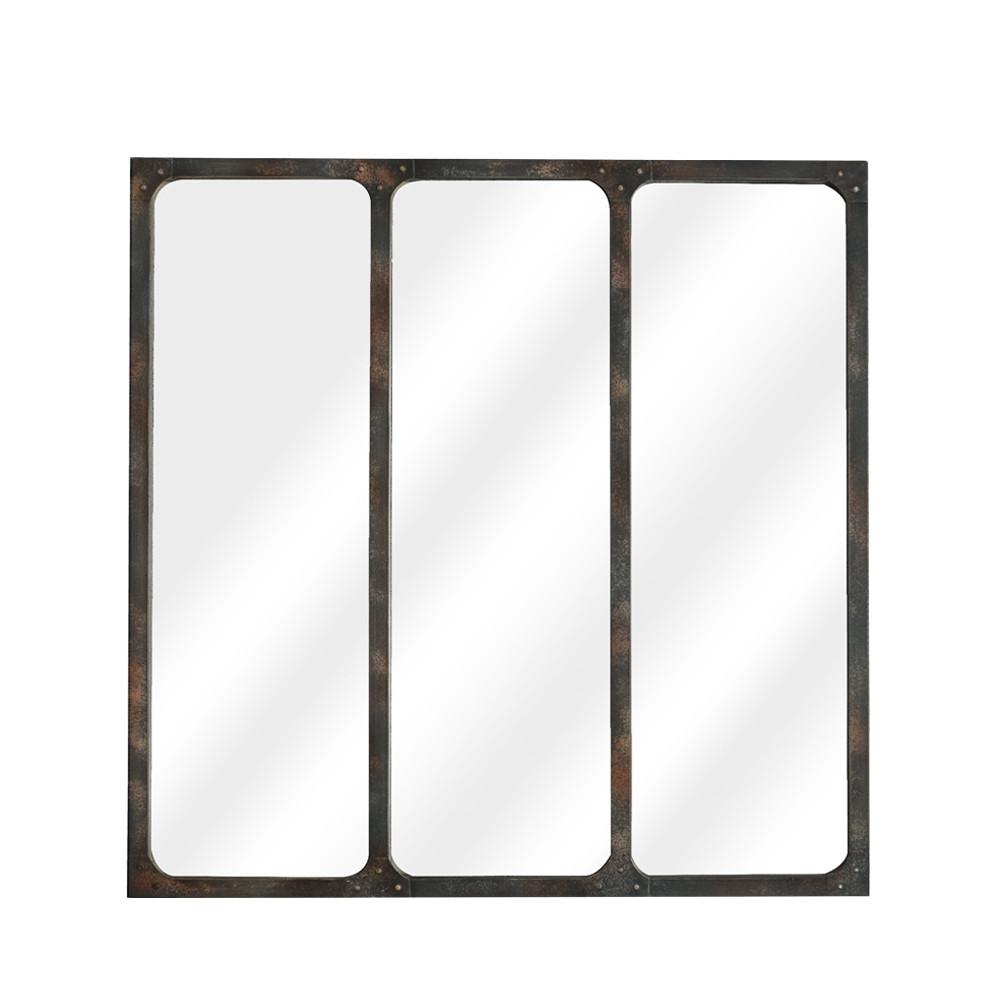 LÉA - Miroir verrière métal 70x70 - Couleur - Rouille