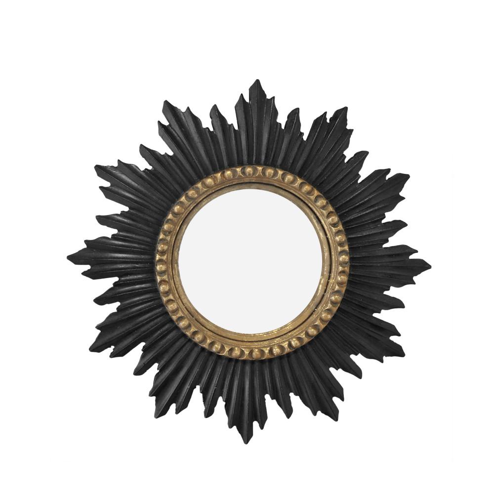 Miroir soleil D33 cm noir / or