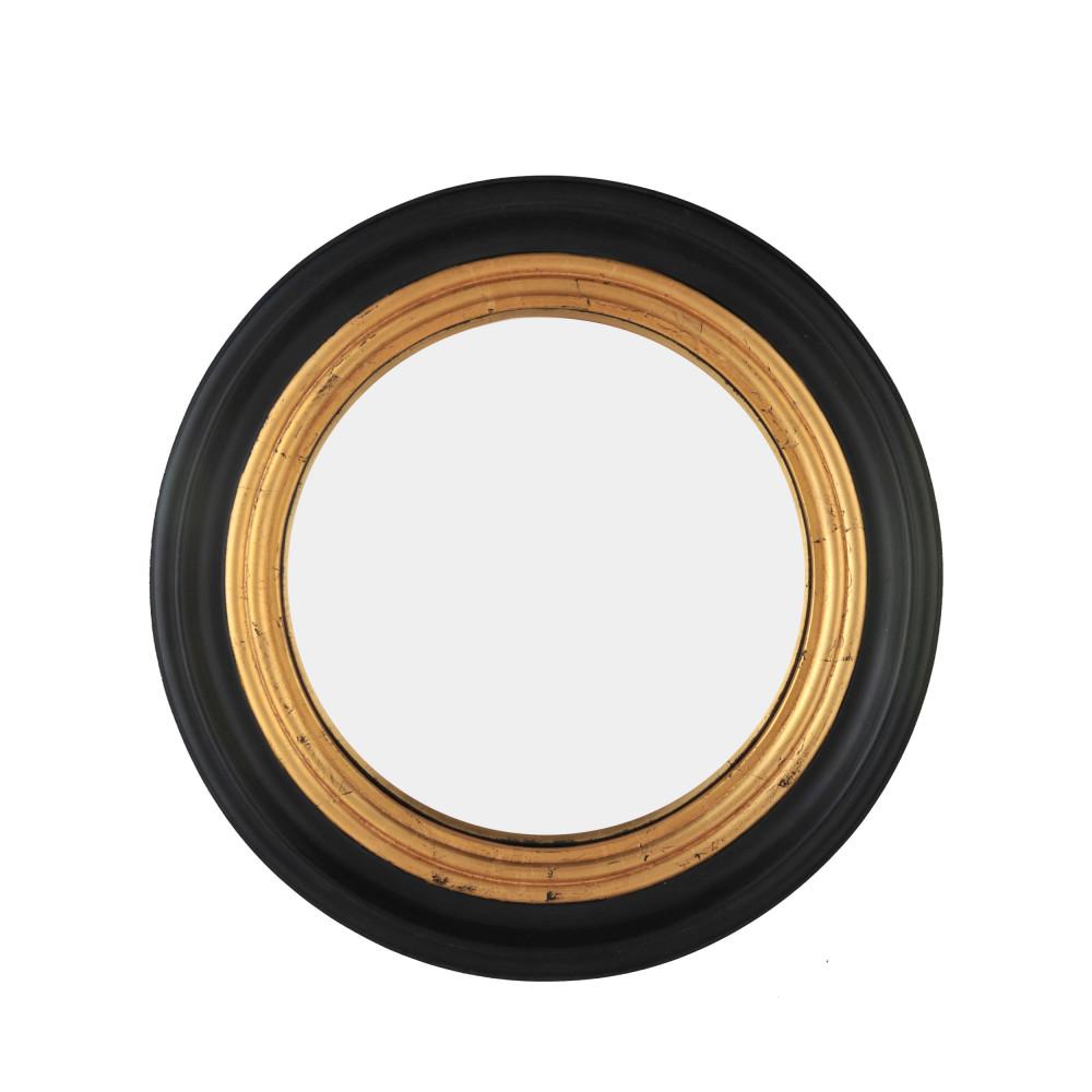 Miroir rond en bois D51 cm noir / or