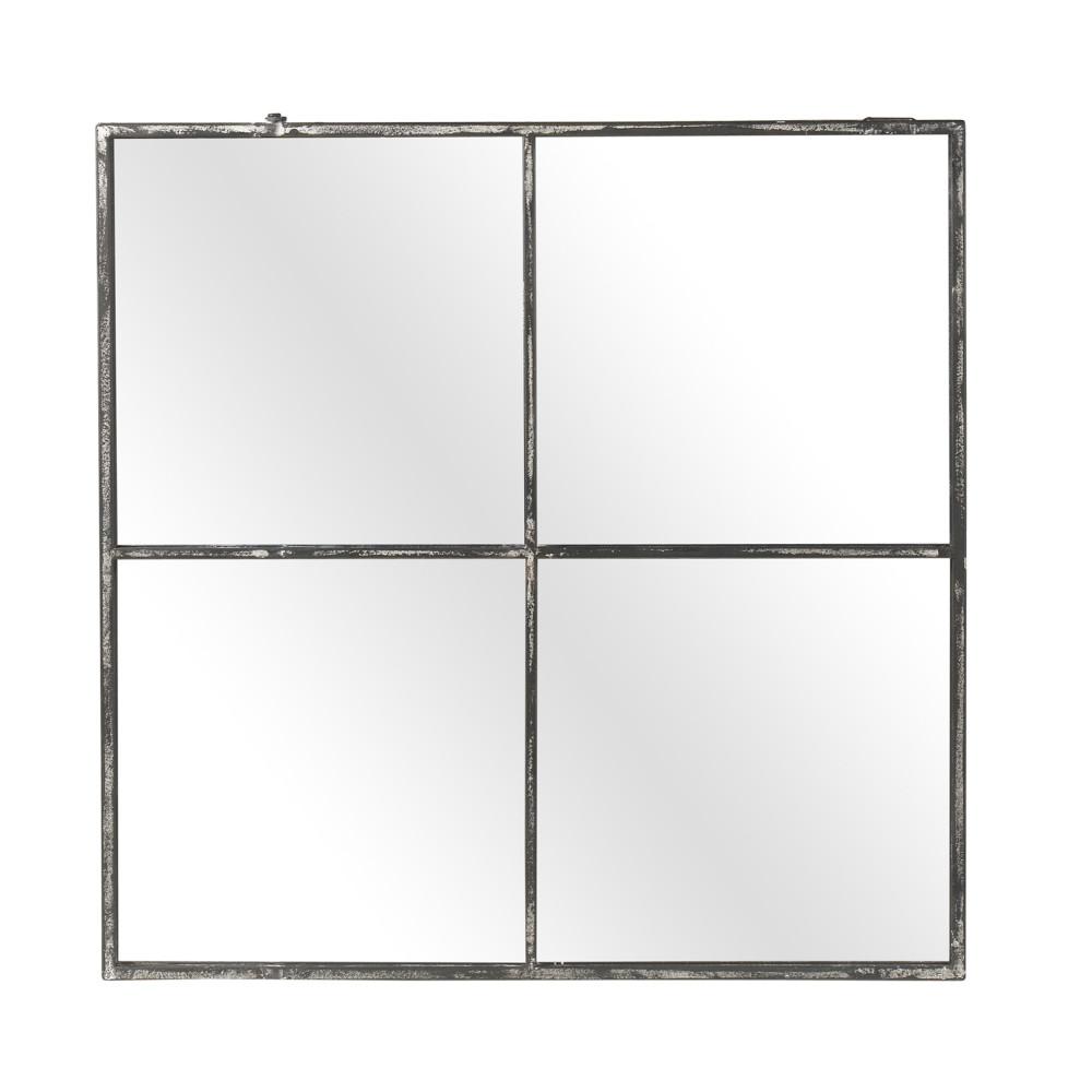 Miroir verrière en métal oxydé 80x80cm métal