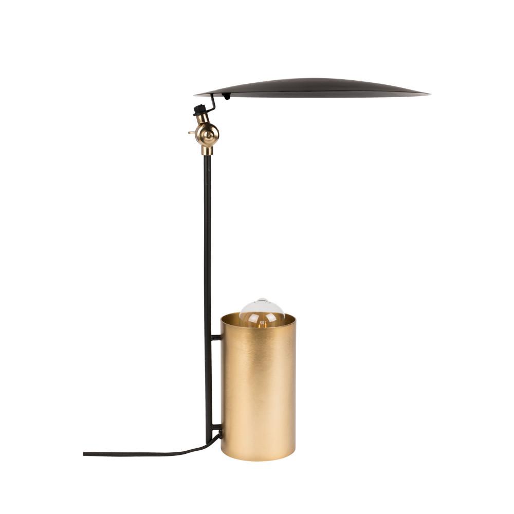 Lampe à poser design en métal noir et or