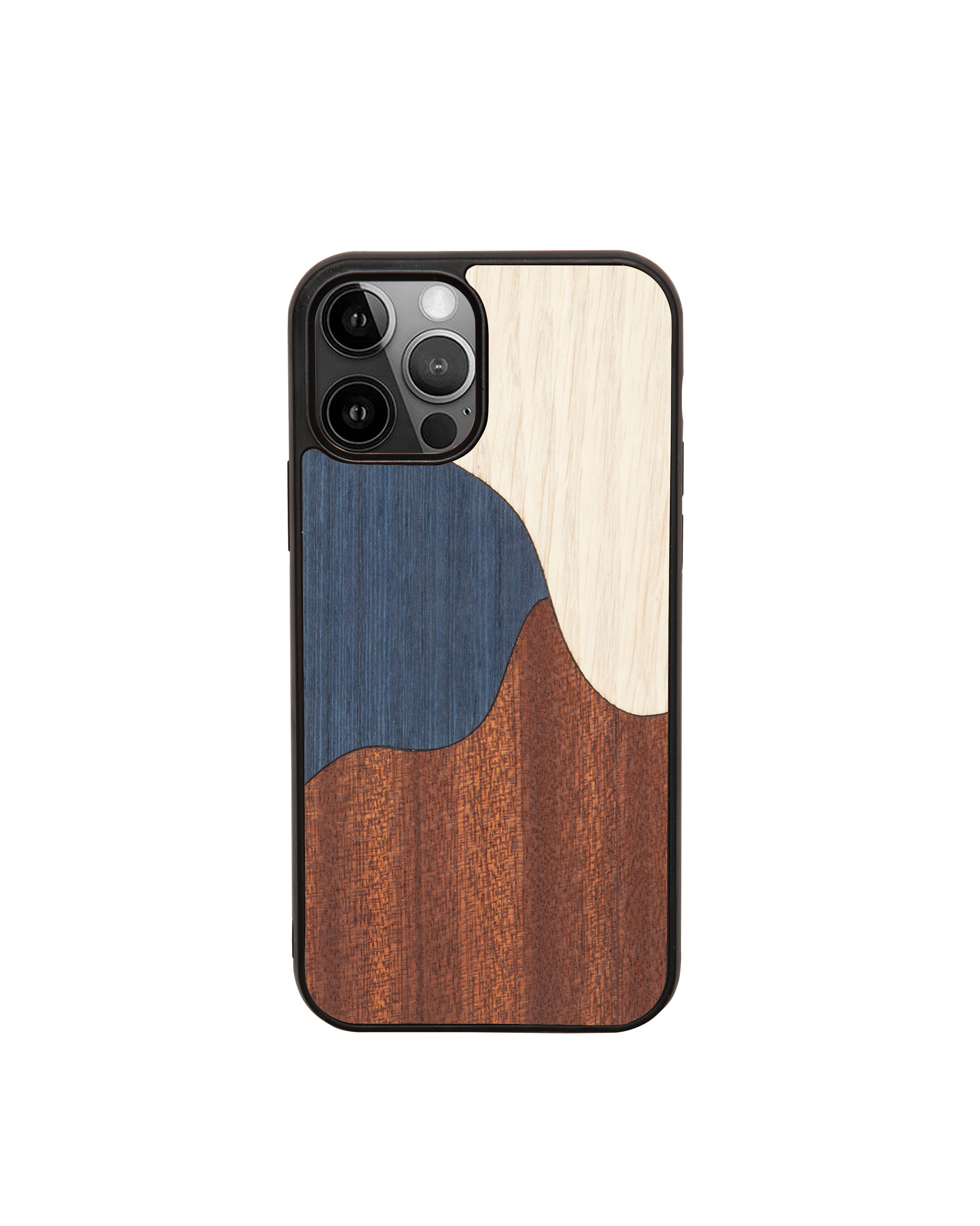 INLAY BLUE - Coque en bois pour iPhone 12 pro max