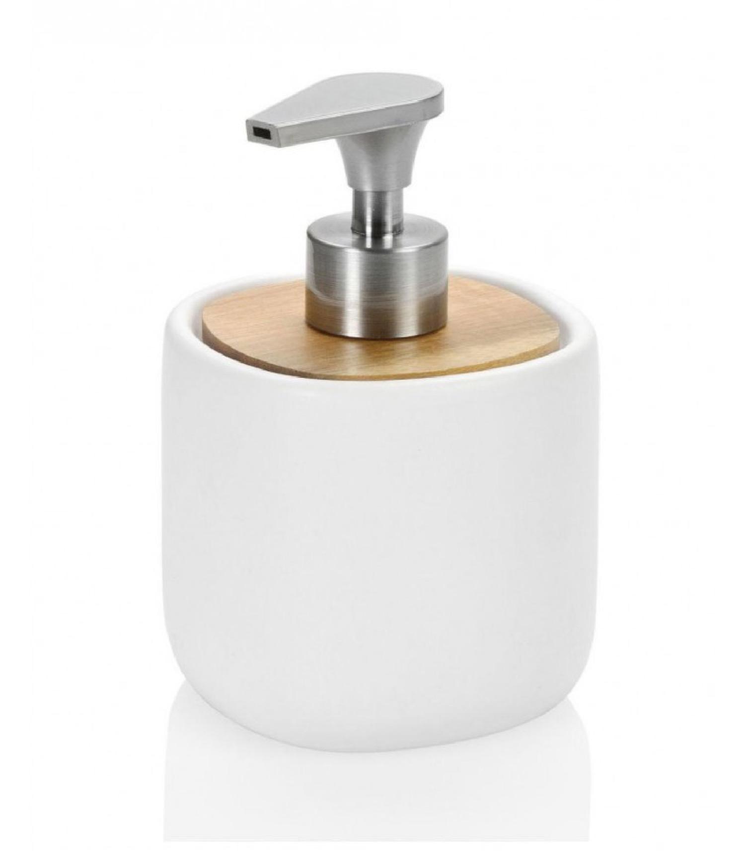 Distributeur de savon en céramique blanche et acacia