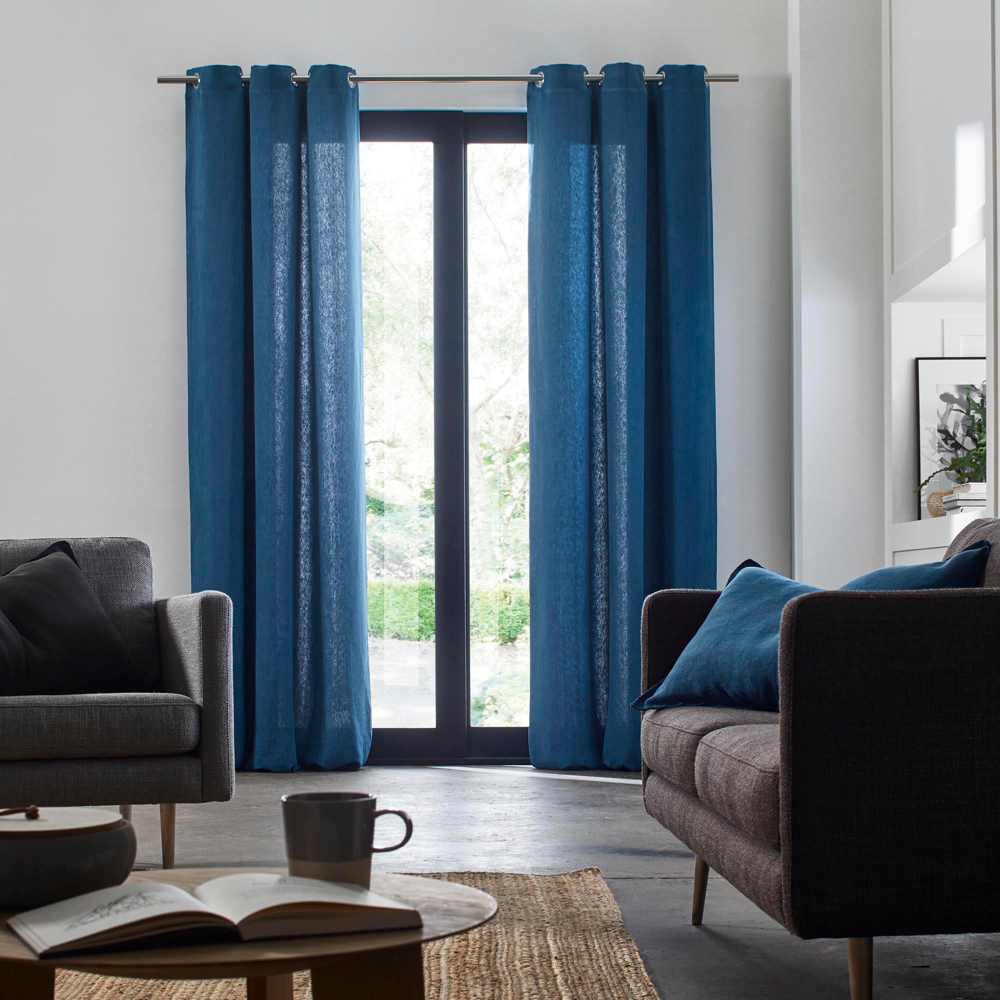 Rideau à oeillets 135x280 cm Bleu en Lin