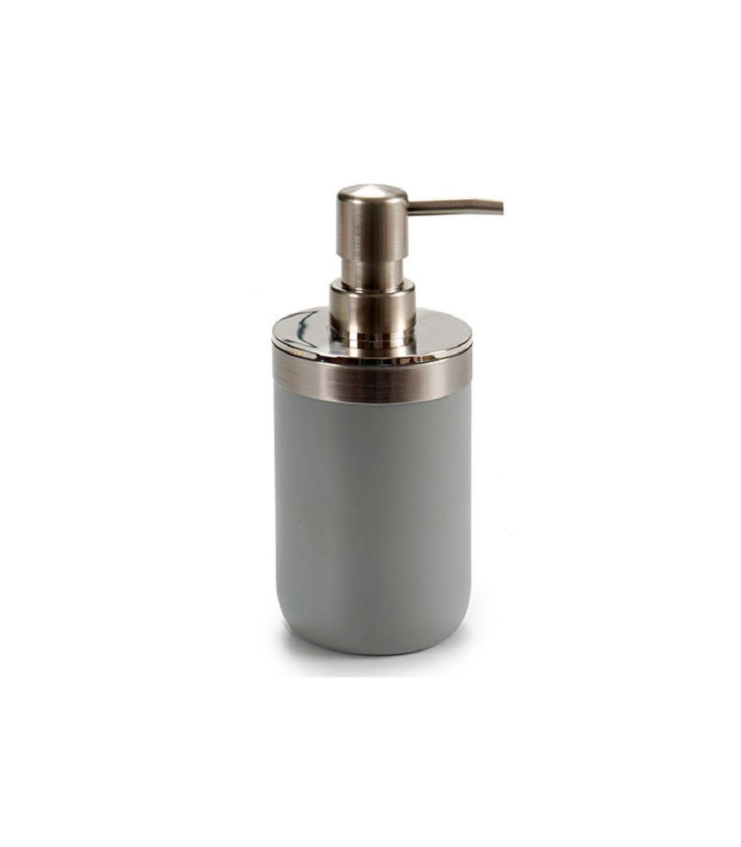 Distributeur de savon rond inox et plastique gris