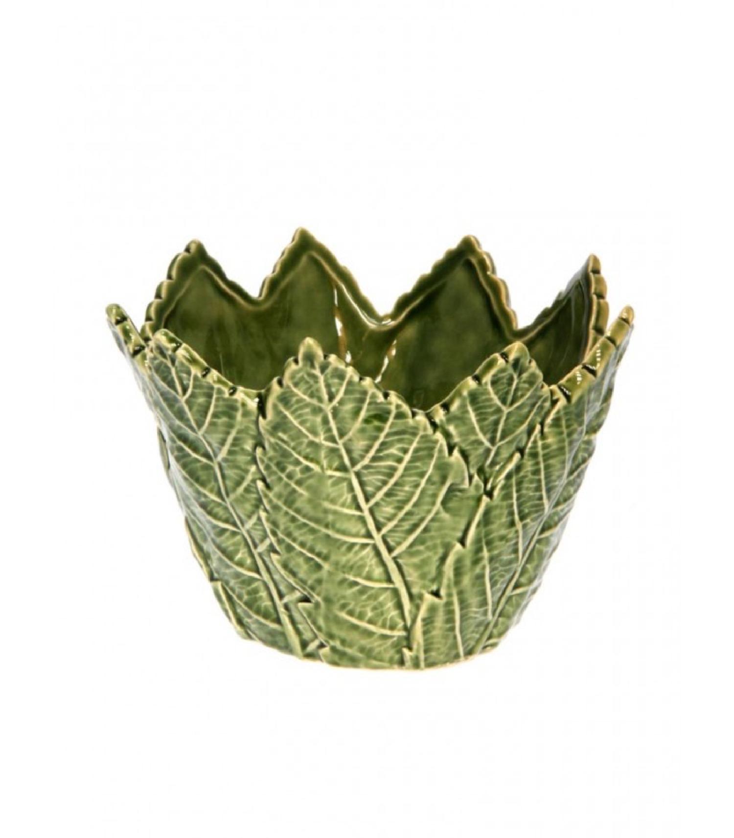 Petite corbeille à fruits en céramique verte D12,5cm