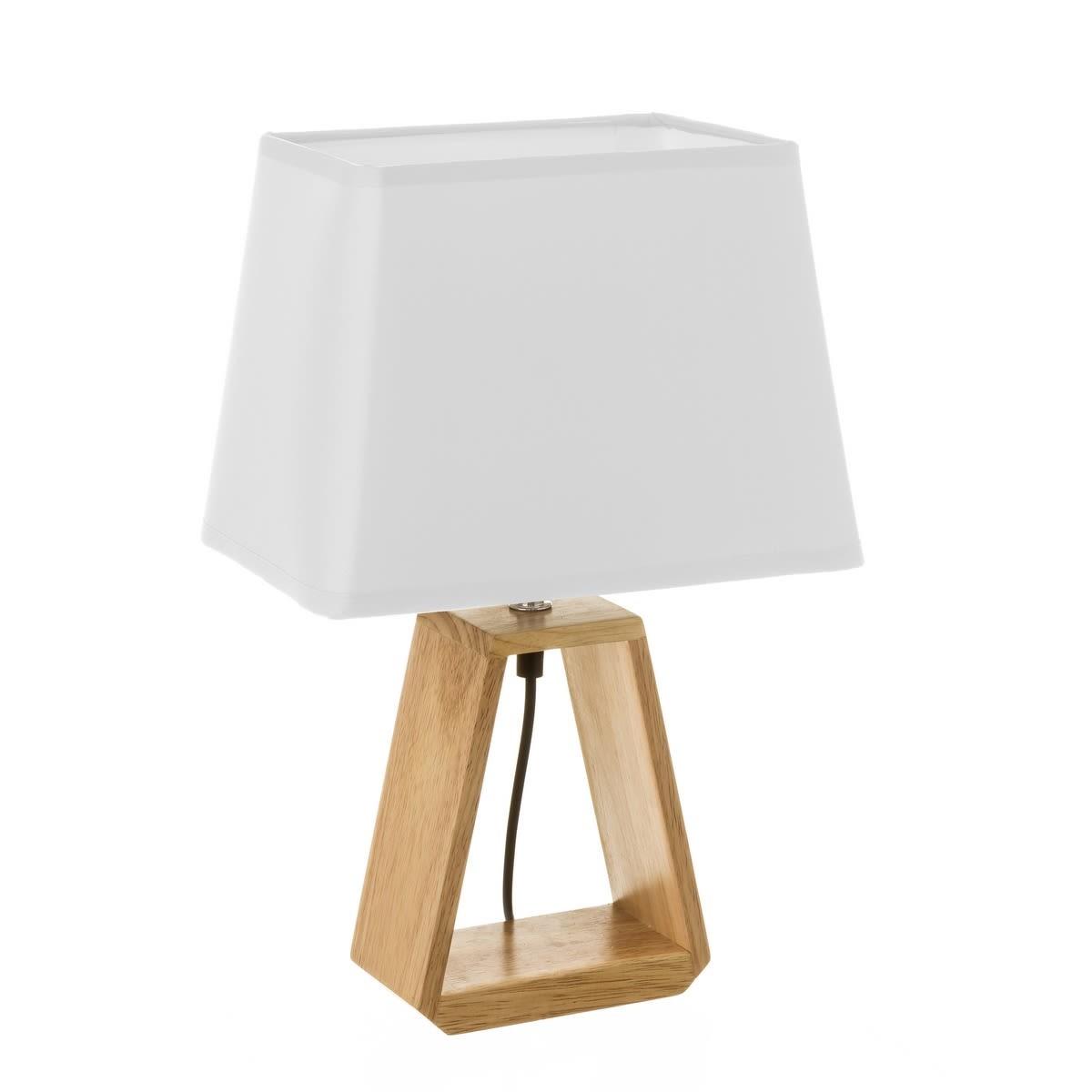 Lampe à poser bois abat-jour blanc H41cm