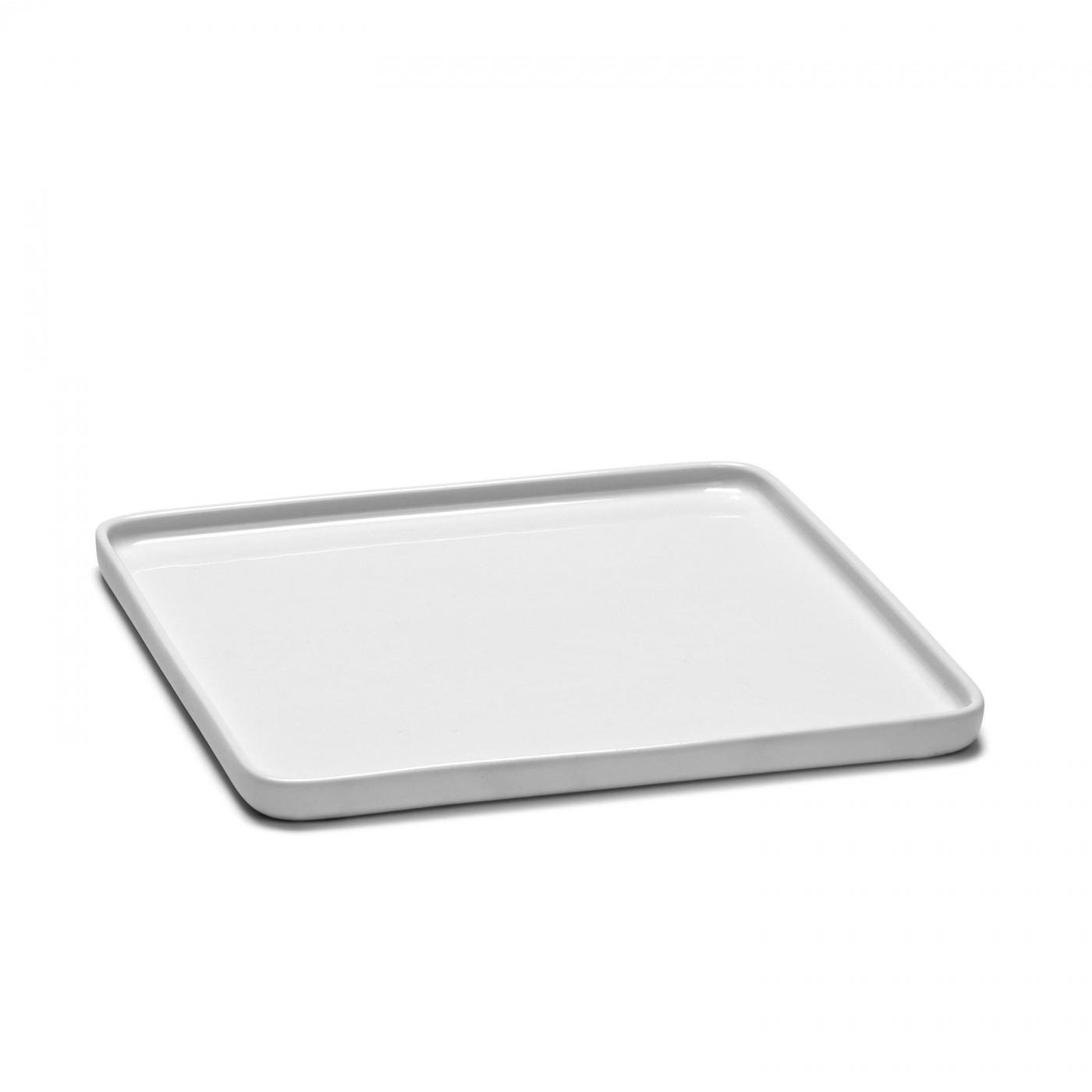 Assiette carrée en porcelaine blanche 20x20cm