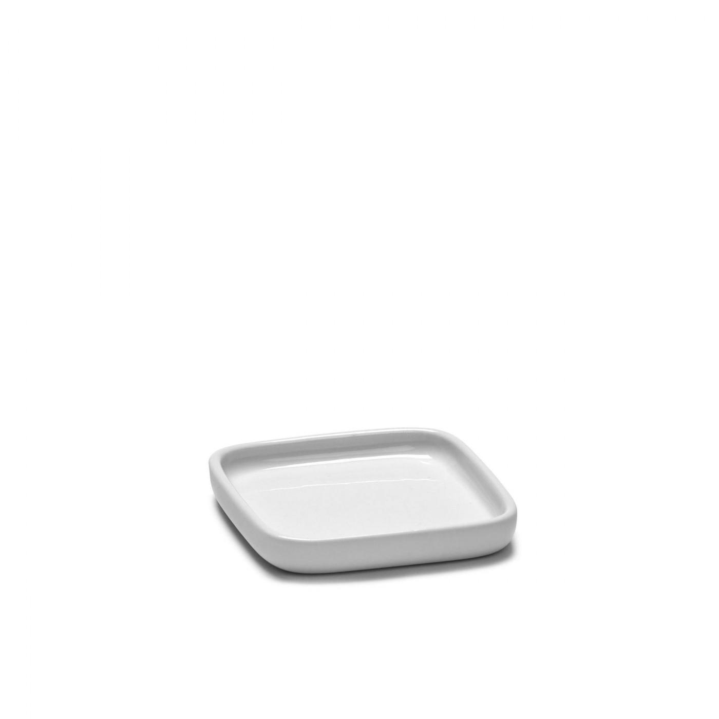 Assiette carrée en porcelaine blanche 8x8cm